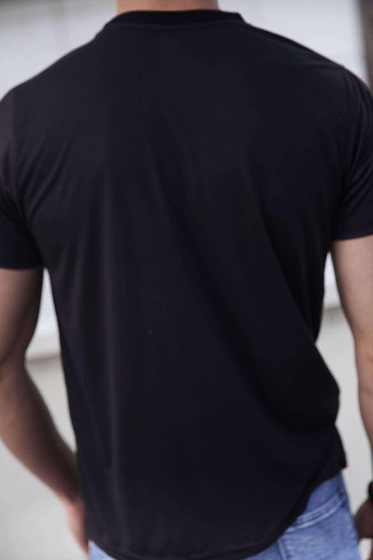 Kuru Kafa Baskılı Dijital Simit Yaka Tişört Siyah