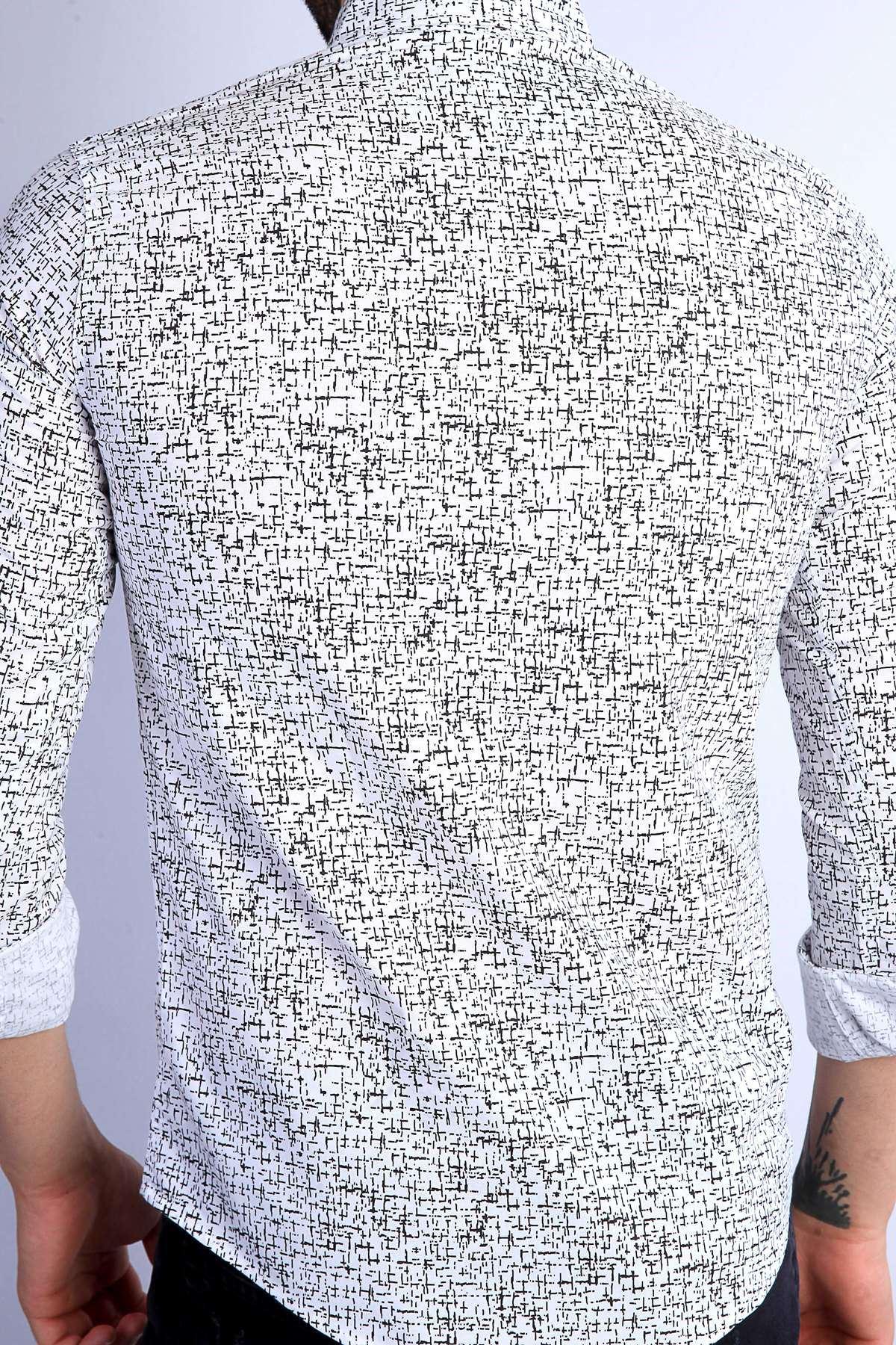 Küçük Çizgi Desenli Klasik Yaka Slim Fit Gömlek Beyaz