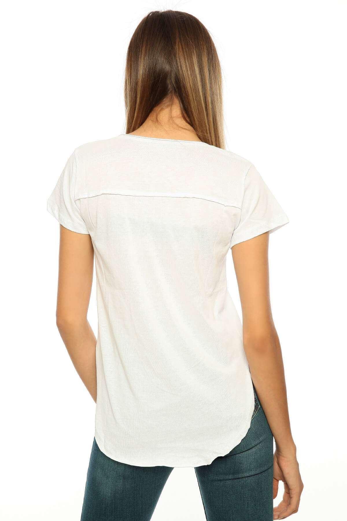 Kot Detaylı V Yaka Önü Kısa Body Beyaz