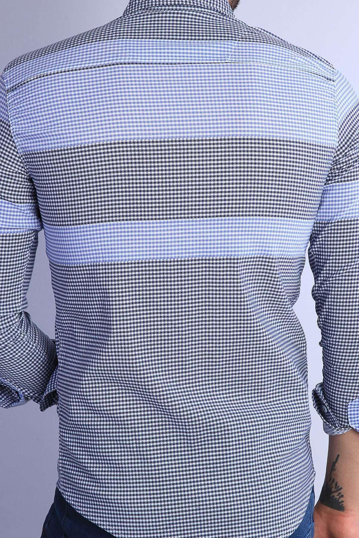 Küçük Kare Desenli Yaka Düğmeli Slim Fit Gömlek Lacivert