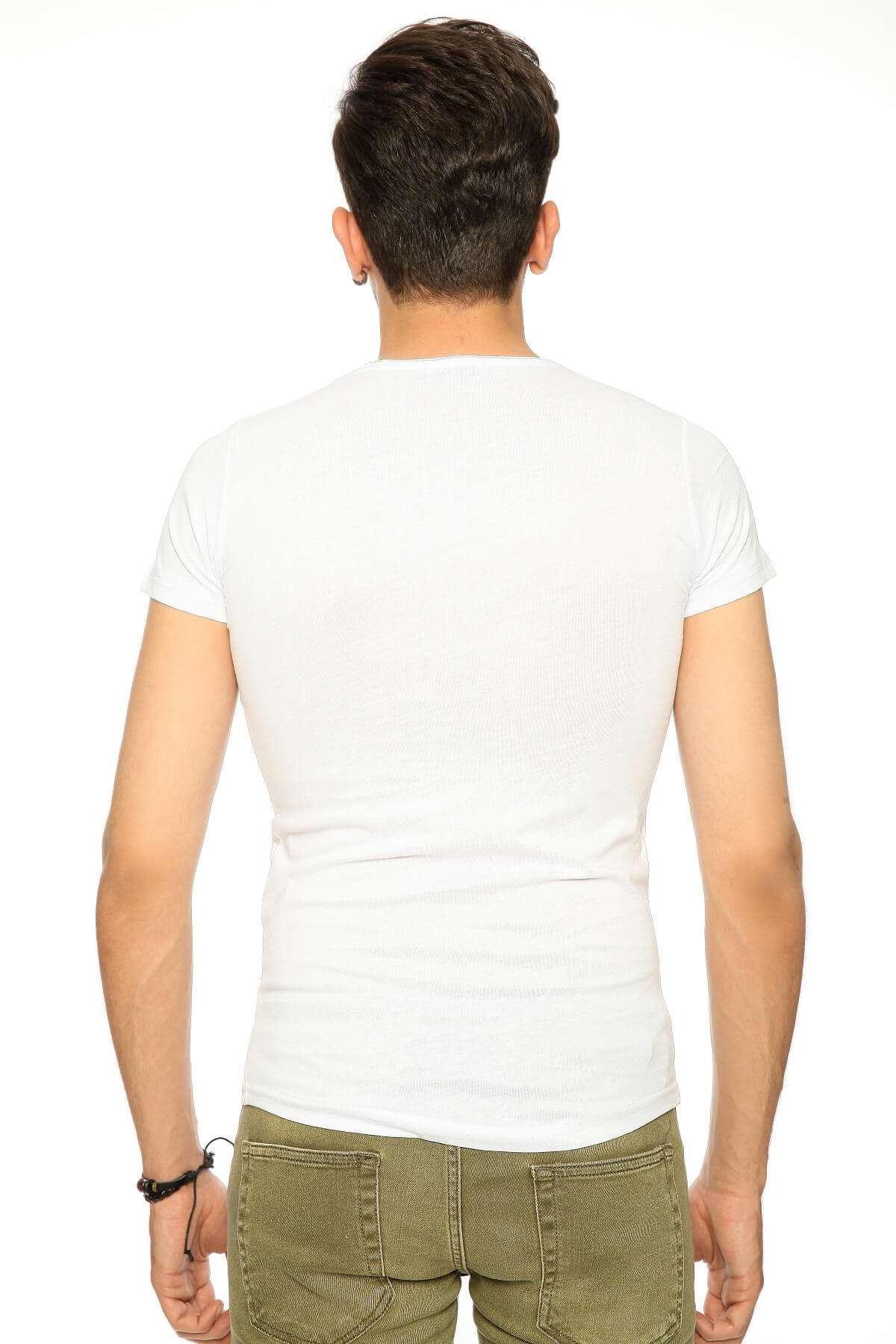 Kuru Kafa Baskılı Kirli Sıfır Yaka Tişört Beyaz