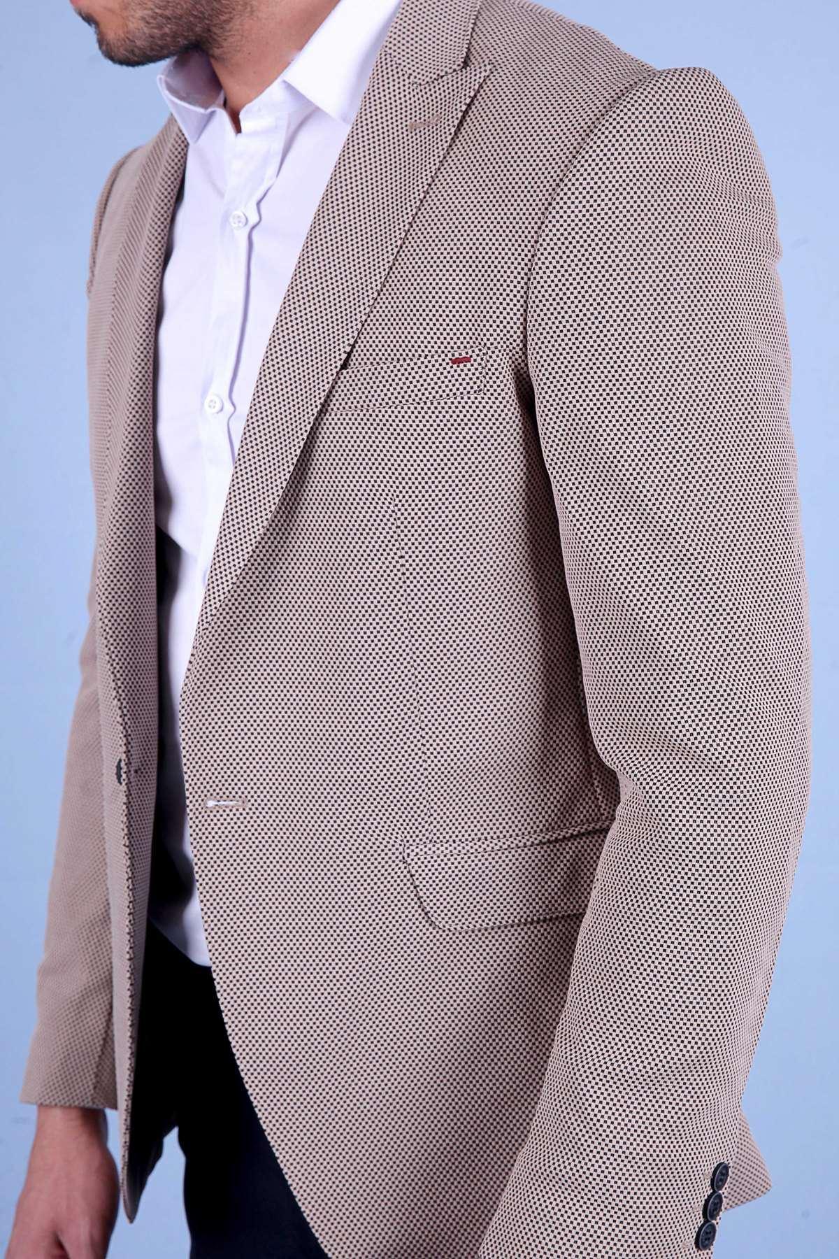 Küçük Kare Desenli Slim Fit Blazer Ceket Vizon