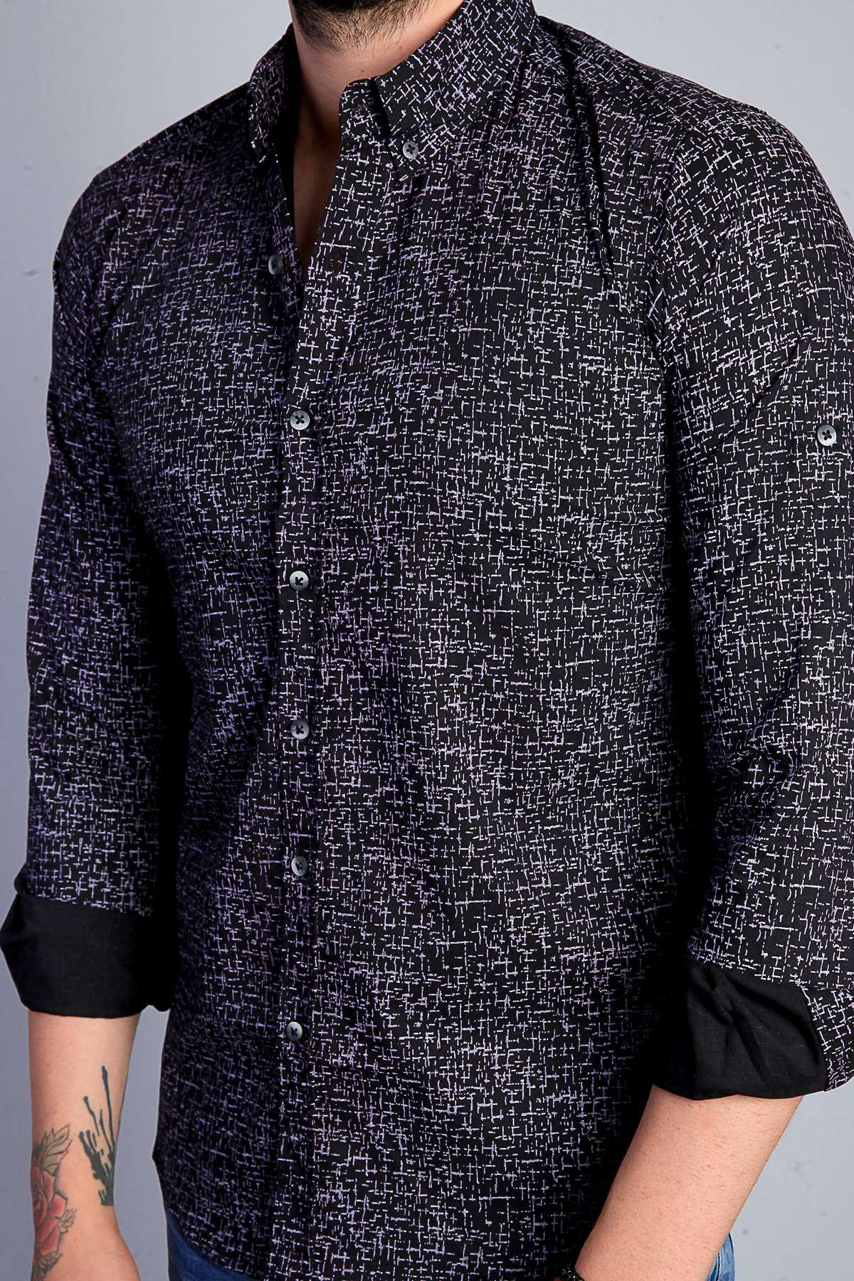 Küçük Çizgi Desenli Klasik Yaka Slim Fit Gömlek Siyah