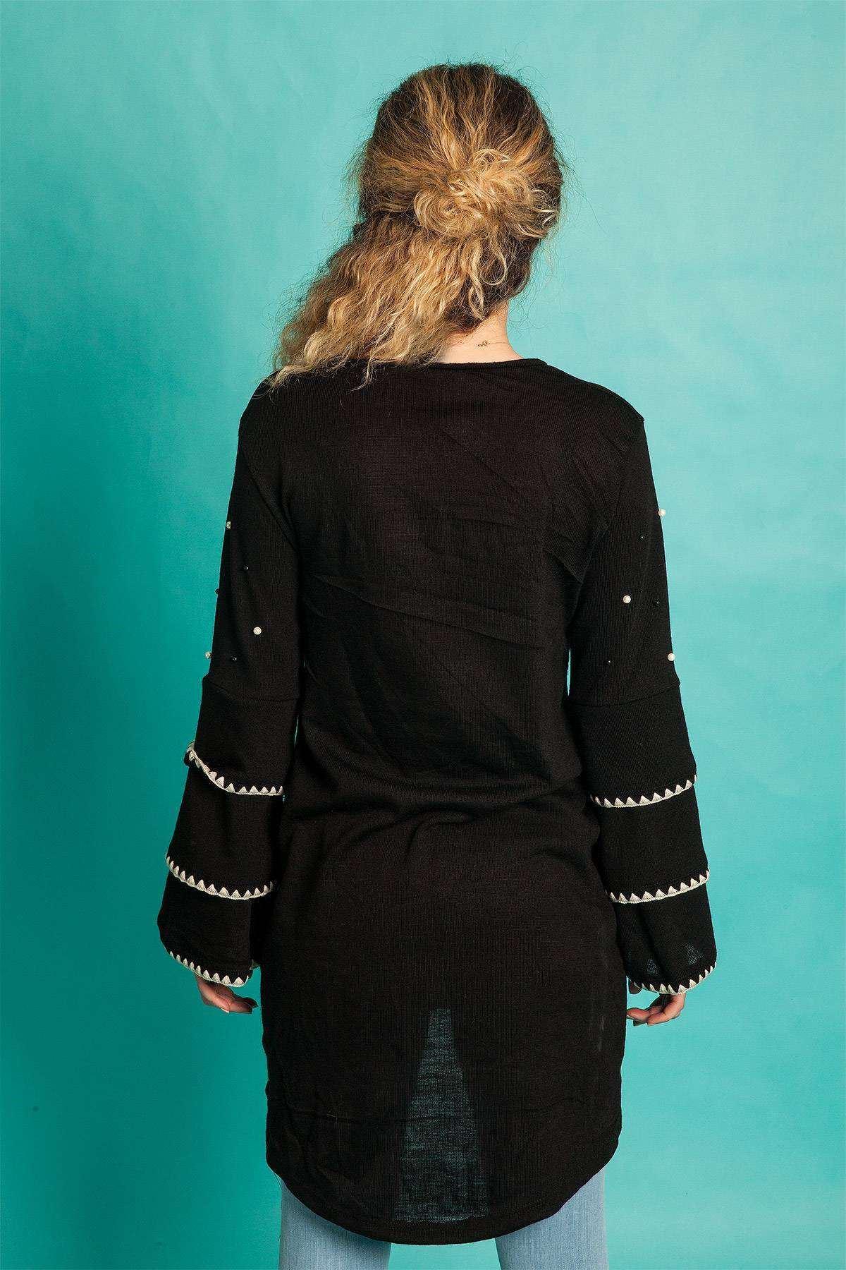 Kolu Üç Katlı İnci Detaylı Tunik Siyah