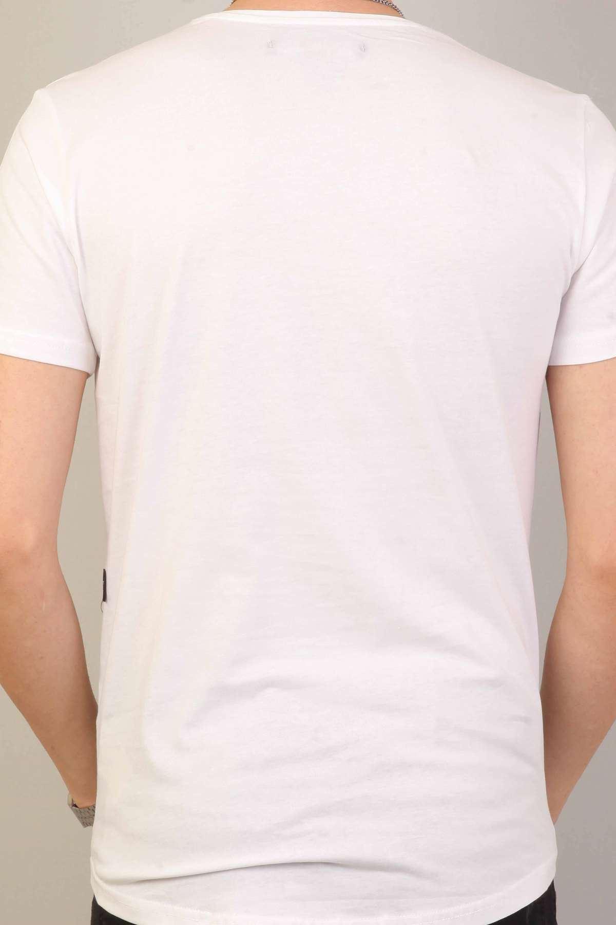 Kuru Kafa Kabartma Baskılıyazılı Silim Fit Sıfır Yaka Tişört Beyaz