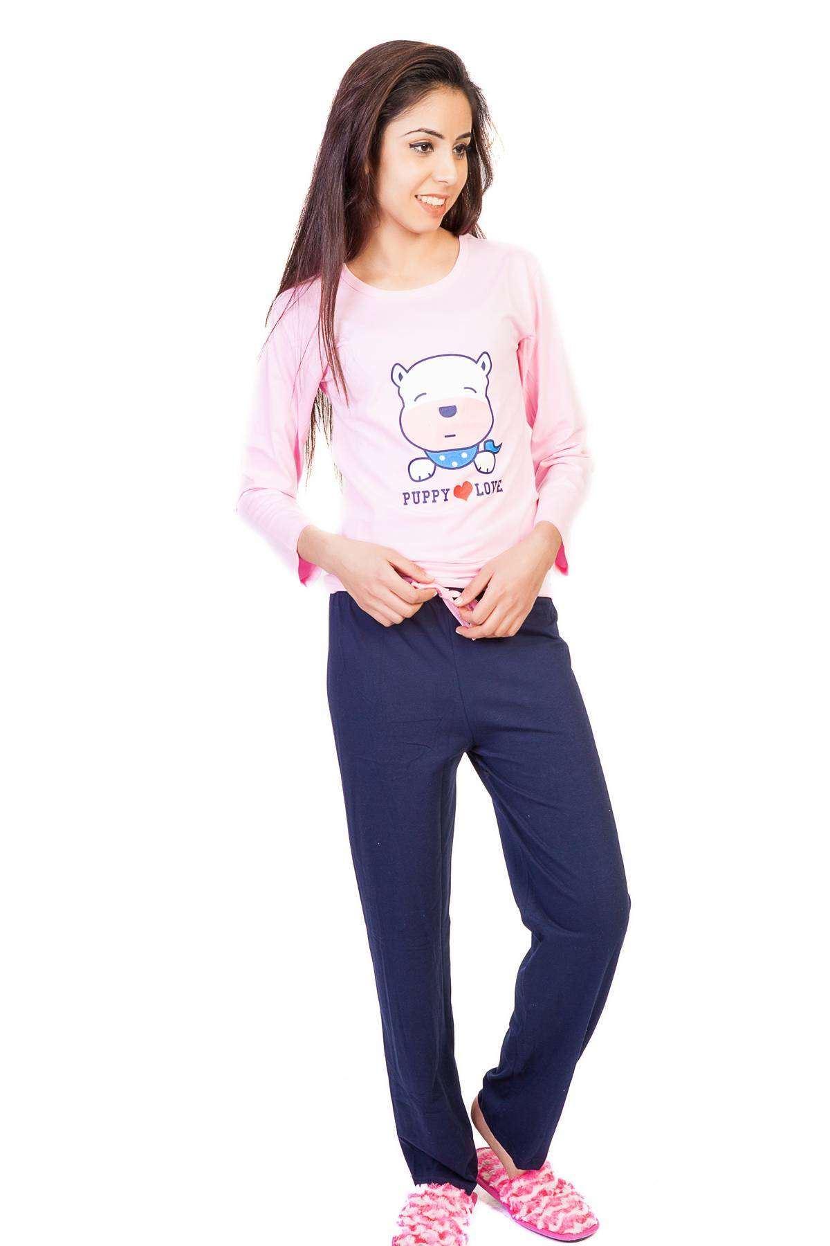 Köpek Baskılı Yazı Detaylı Pijama Takımı Pembe