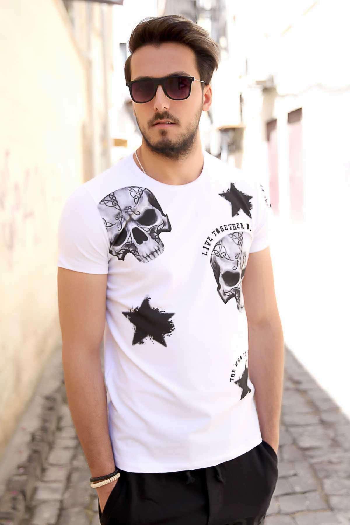 Kuru Kafa Ve Yıldız Baskılı Slim Fit Tişört Beyaz