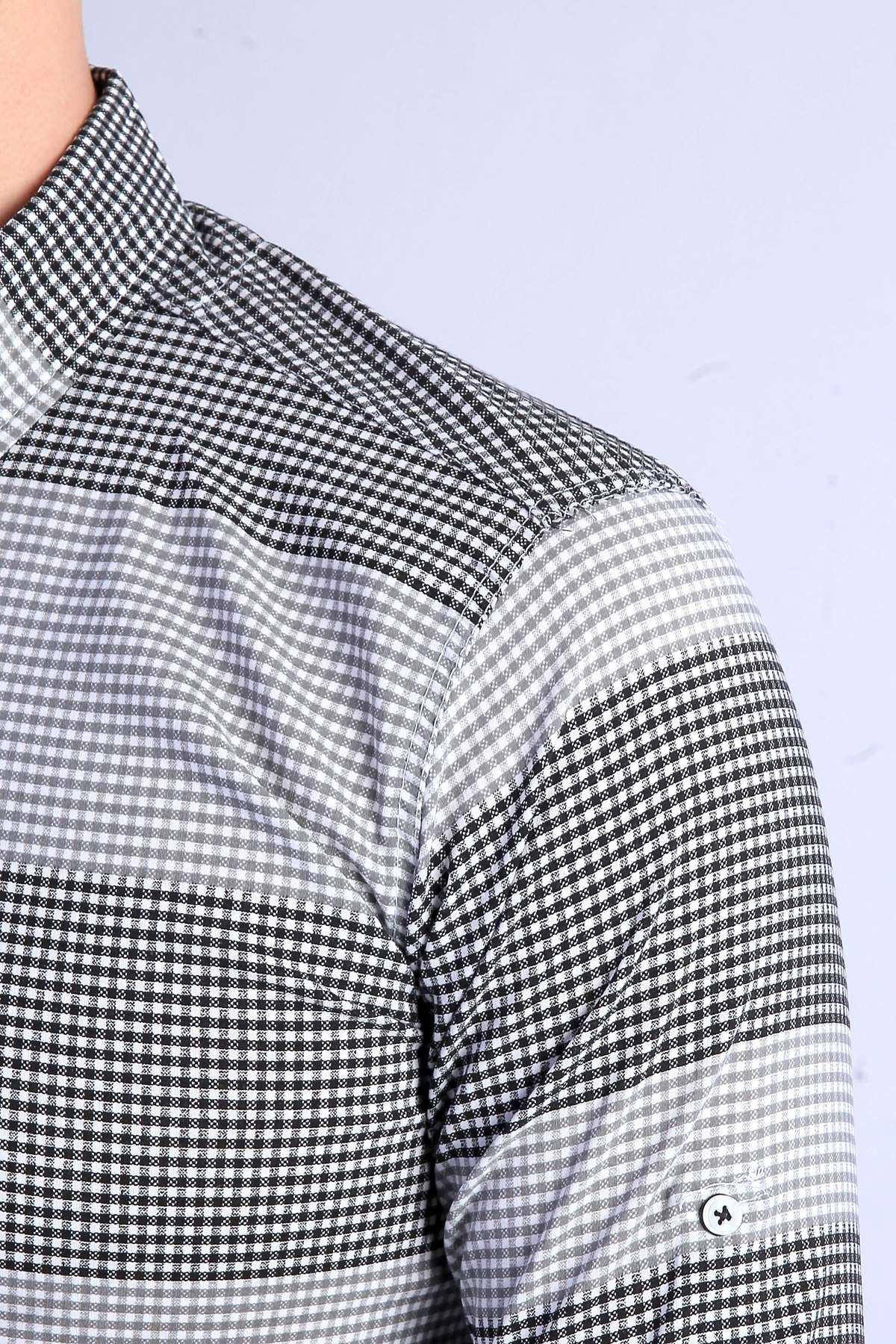 Küçük Kare Desenli Yaka Düğmeli Slim Fit Gömlek Siyah