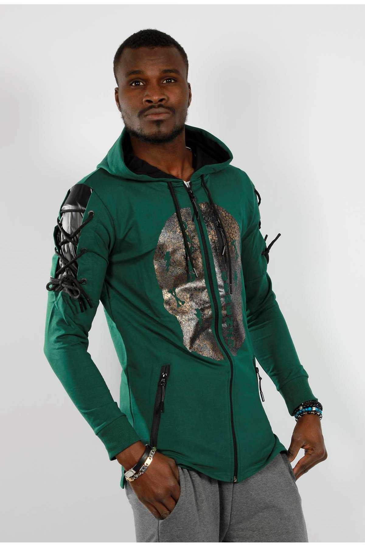 Kuru Kafalı Omuz Bağcıklı Kapşonlu Sweatshirt Koyu Yeşil