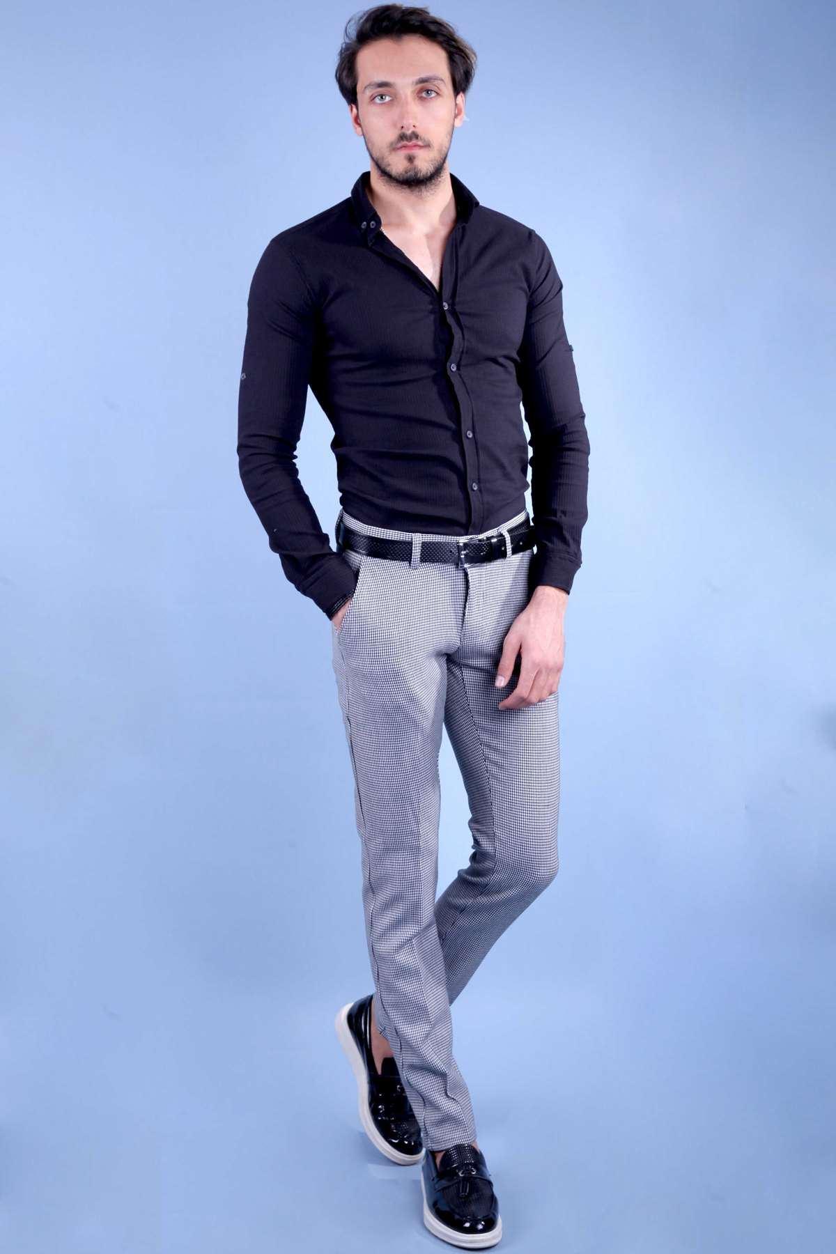 Küçük Kare Desenli Arka Gizli Cepli Slim Fit Pantolon Siyah-Beyaz