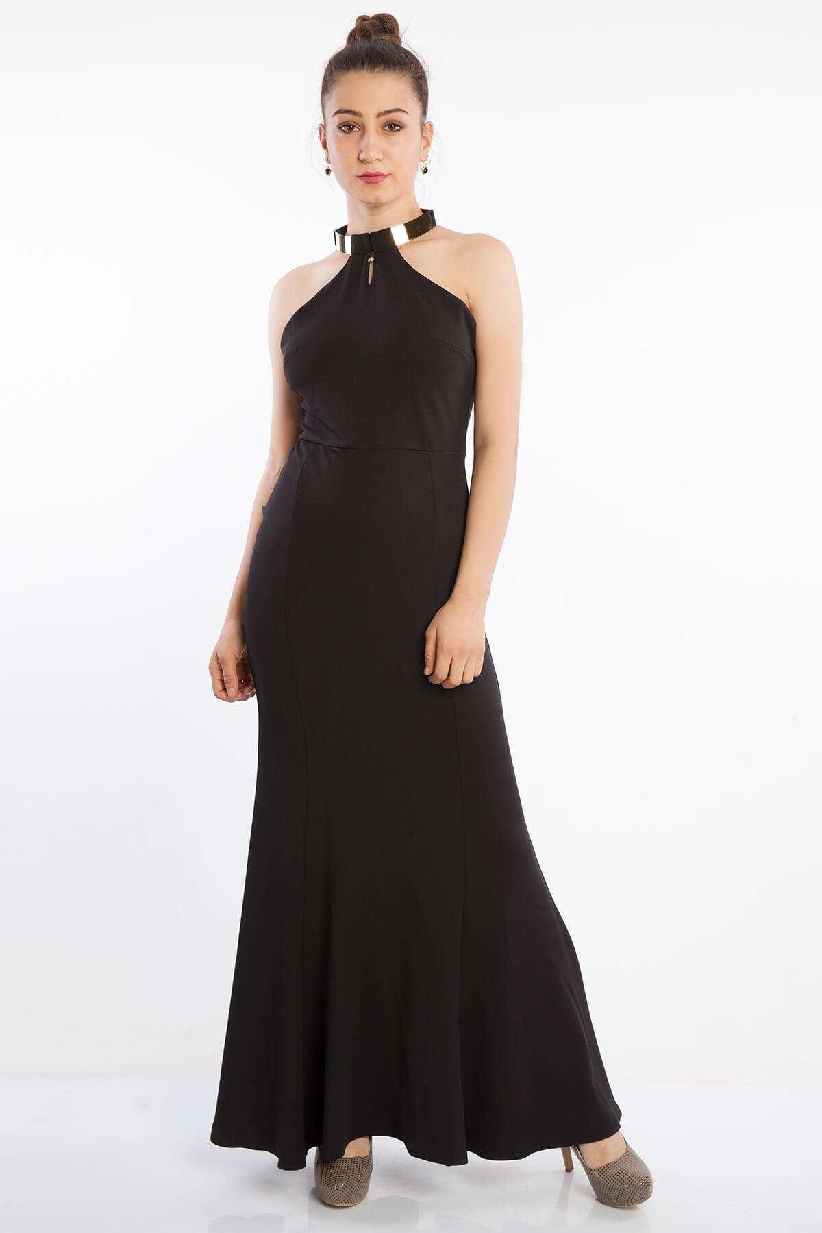 Kolye Yaka Dekolte Uzun Elbise Siyah