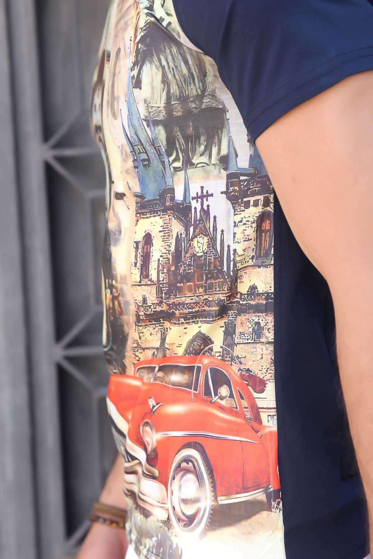 Krmızı Araba Baskı V Yaka Dijital Tişört Lacivert