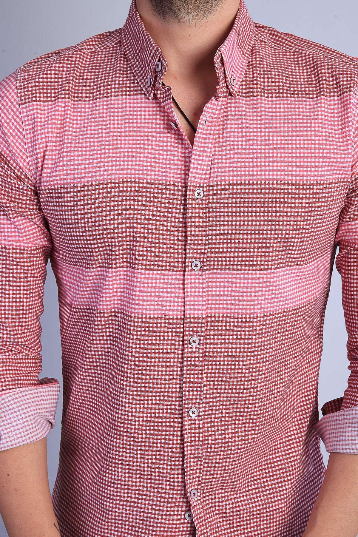 Küçük Kare Desenli Yaka Düğmeli Slim Fit Gömlek Bordo