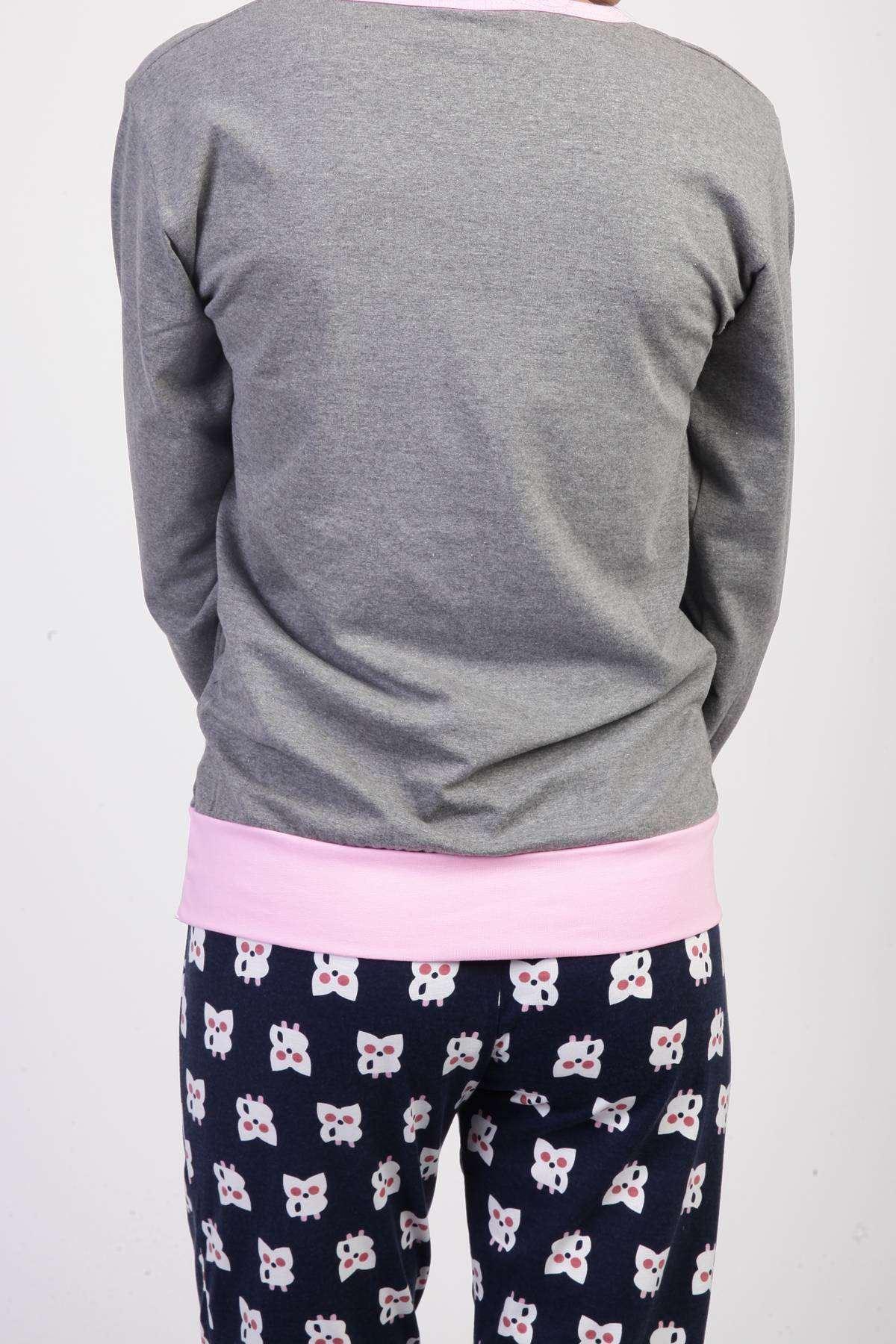 Kuş Baskılı Pijama Takımı Füme