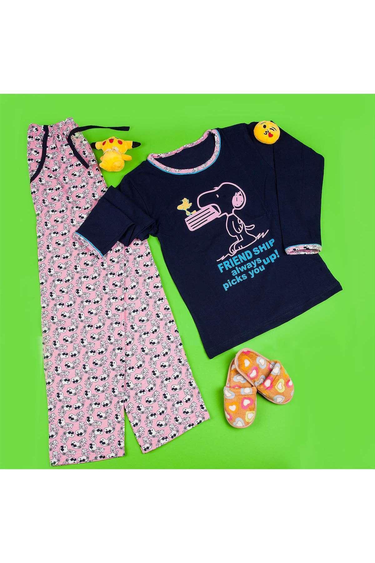 Köpekli Yazı Baskılı Pijama Takımı Laci