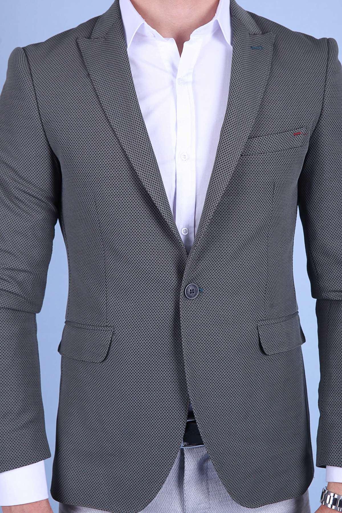 Küçük Kare Desenli Slim Fit Blazer Ceket Haki