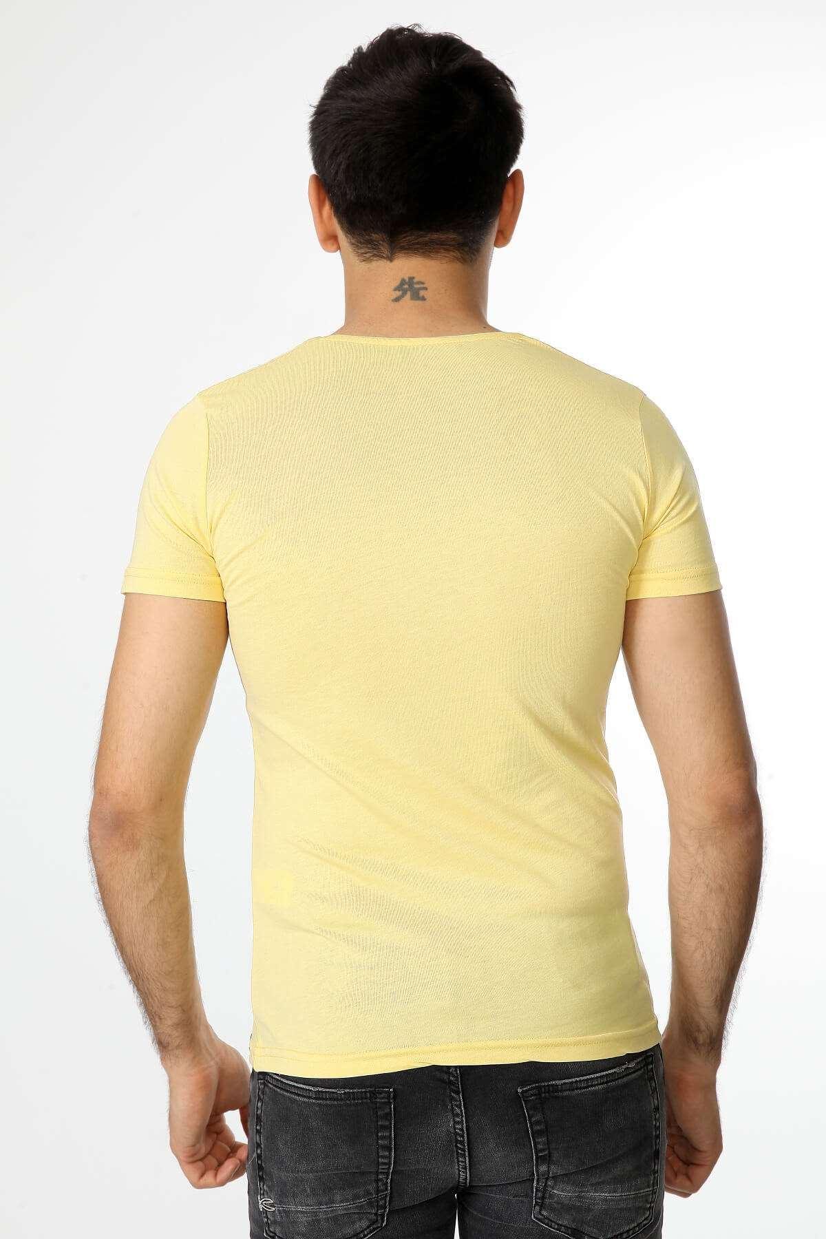 Kurt Baskılı Sıfır Yaka Tişört Sarı