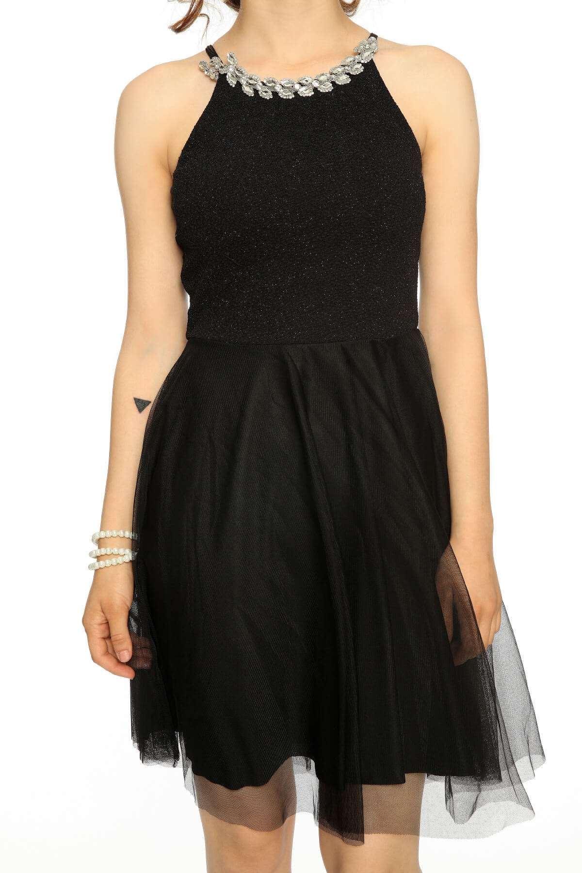 Kolyeli Geniş Tül Etek Elbise Siyah