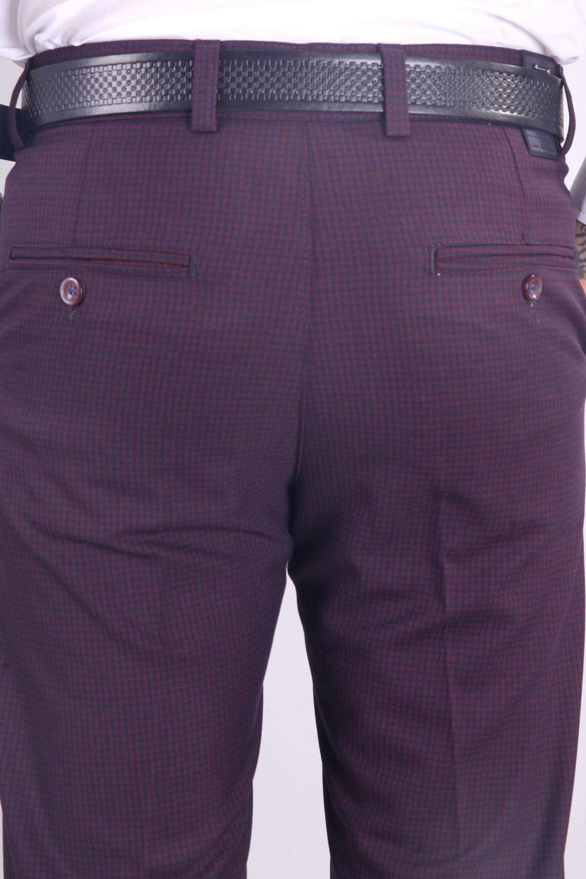 Küçük Kare Desenli Yan Gizli Cepli Slim Fit Pantolon Bordo-Laci