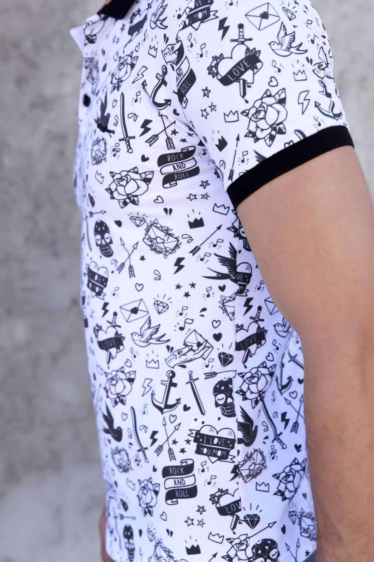 Kuşlu Oklu Kuru Kafa Desenli Polo Yaka Slim Fit Tişört Beyaz