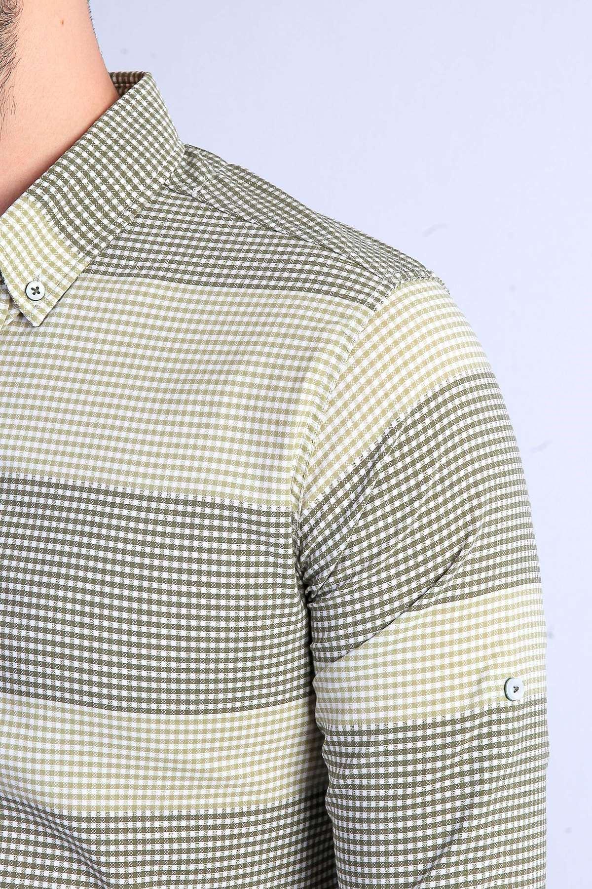 Küçük Kare Desenli Yaka Düğmeli Slim Fit Gömlek Haki