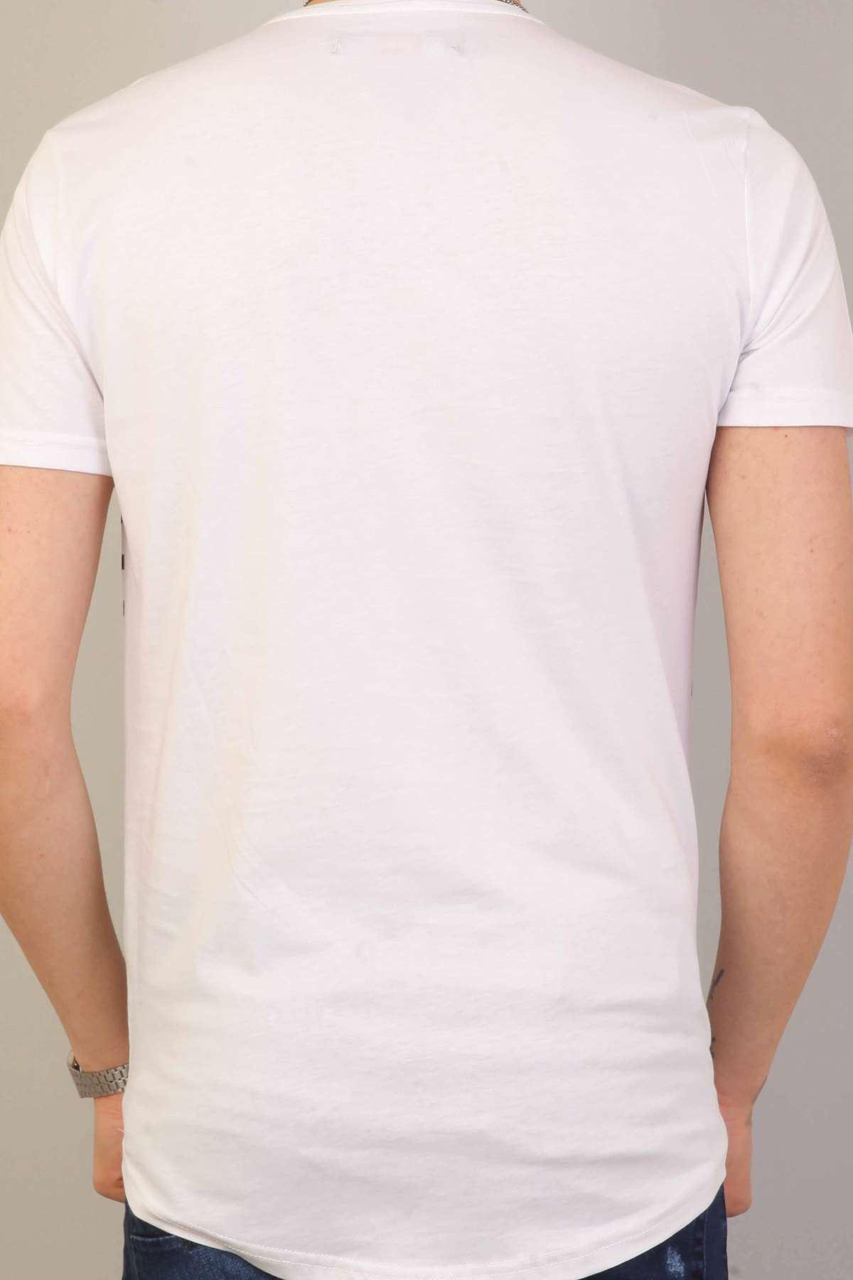 Kuru Kafa Baskılı Yazılı Sıfır Yaka Tişört Beyaz