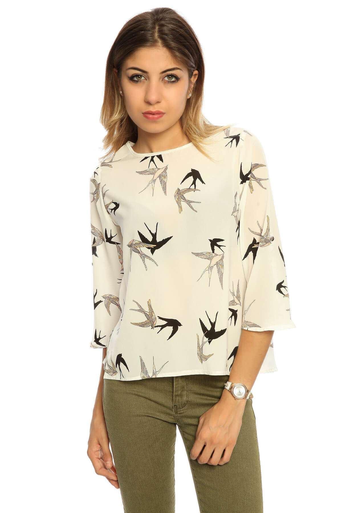 Kuş Desenli Kısa Ges Kol Bluz Beyaz