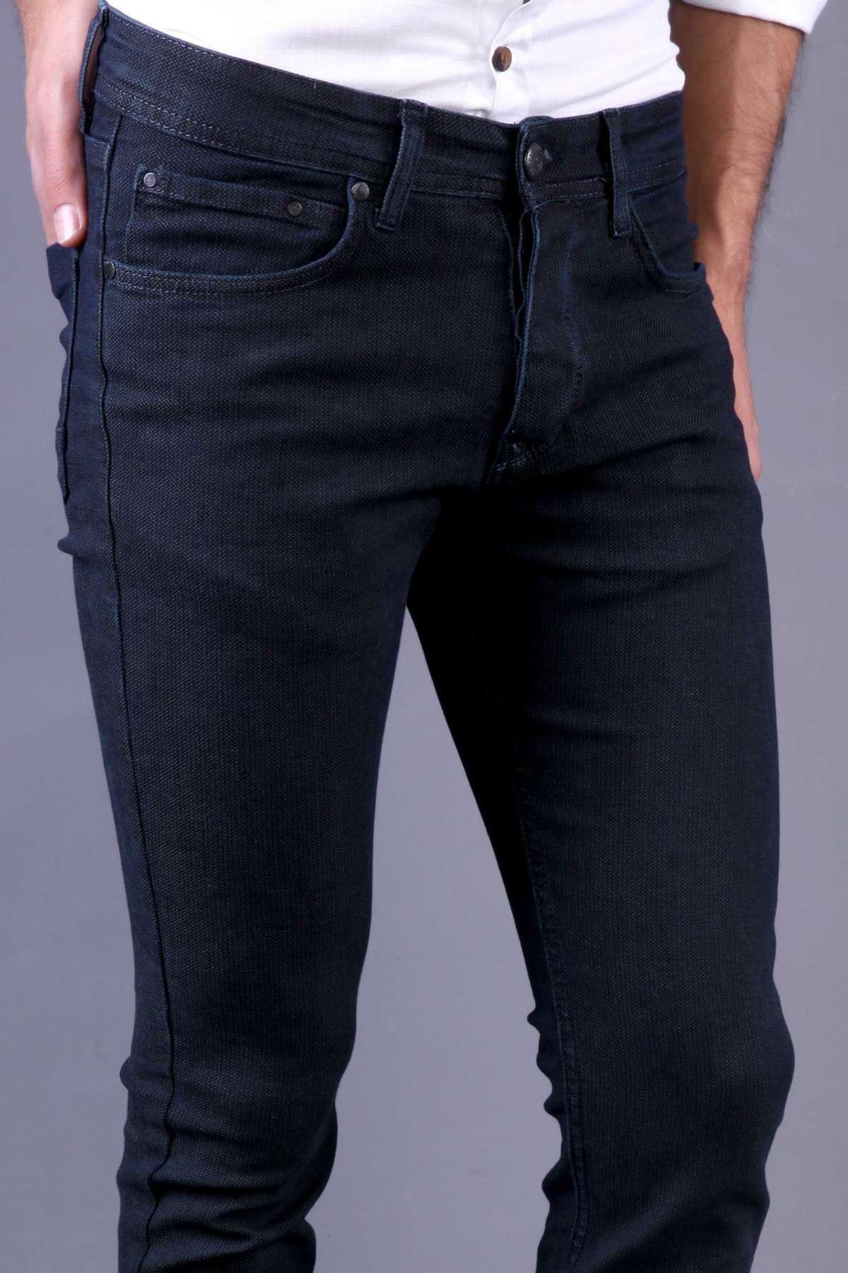Küçük Nokta Desenli Slim Fit Kot Pantolon Haki-Lacivert