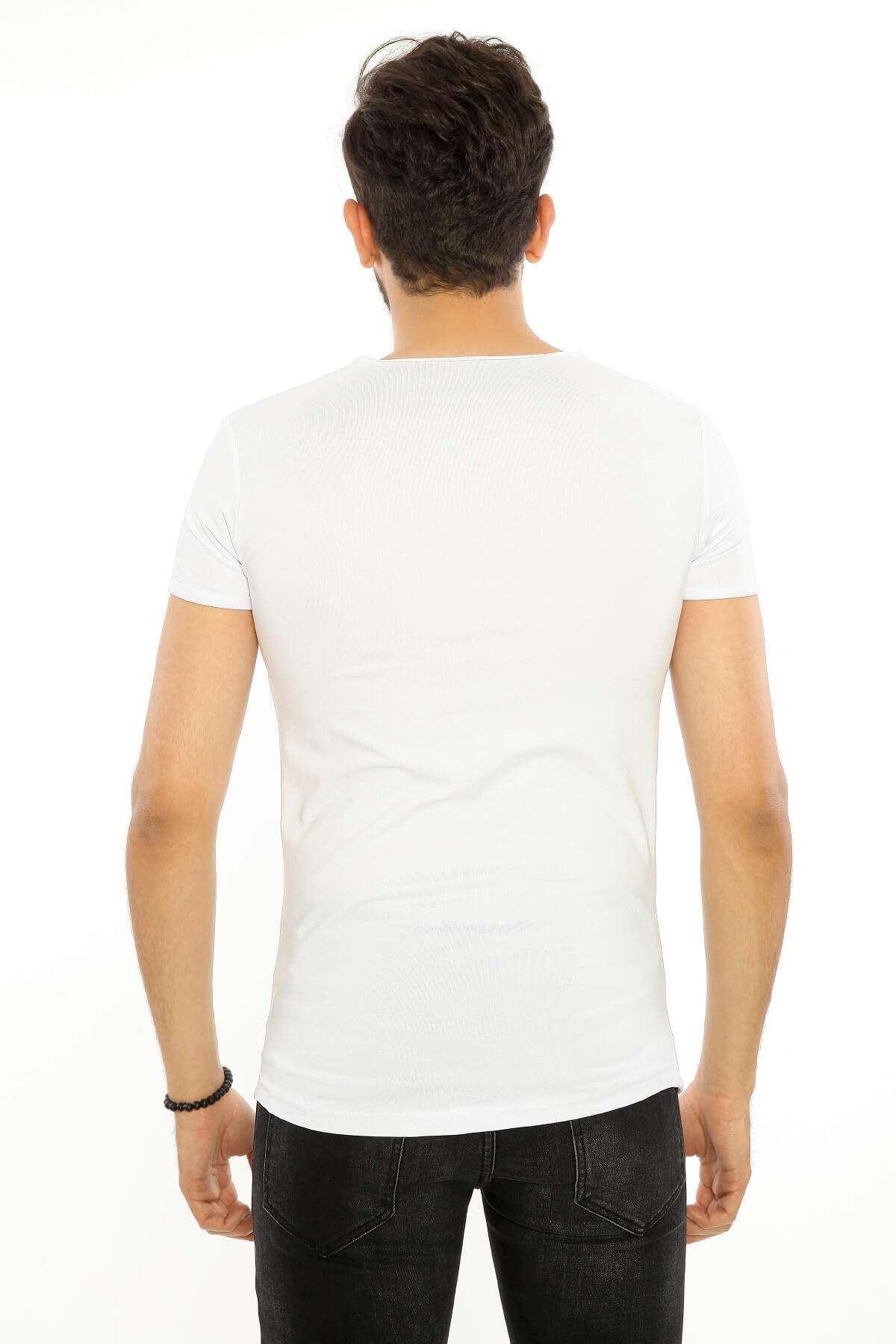 Lazer Kesik Astar Detay Likralı Tişört Beyaz