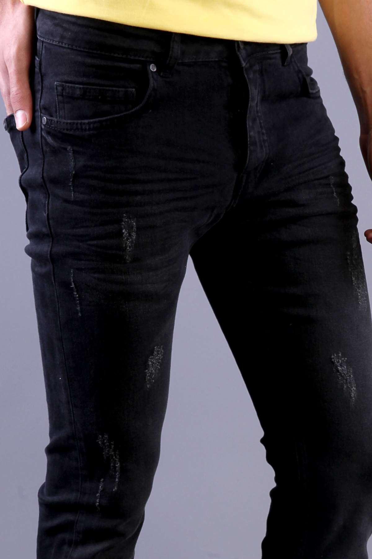 Lazer Tırnaklı Slim Fit Kot Pantolon Siyah-Yeşil