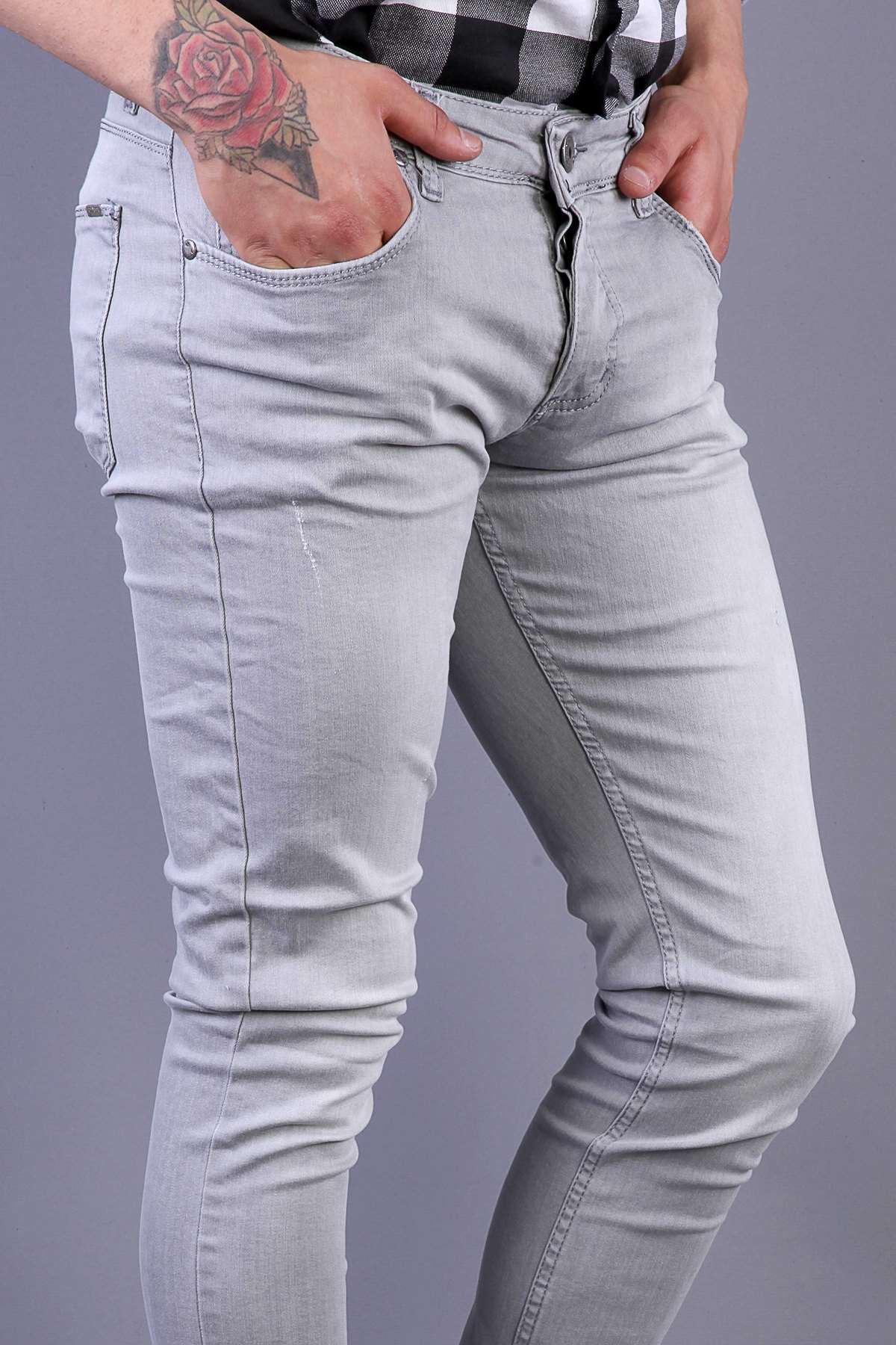 Lazer Tırtıklı Diz Taşlamalı Slim Fit Kot Pantolon Gri
