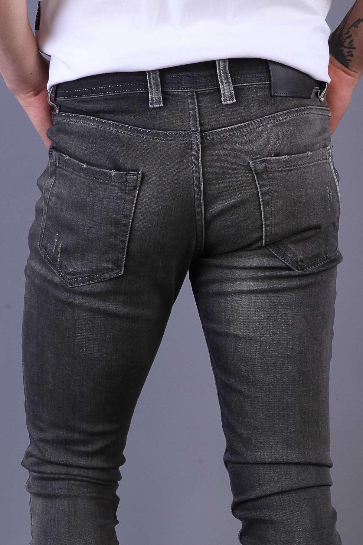 Lazer Tırtıklı Taşlamalı Slim Fit Kot Pantolon Antrasit-Haki