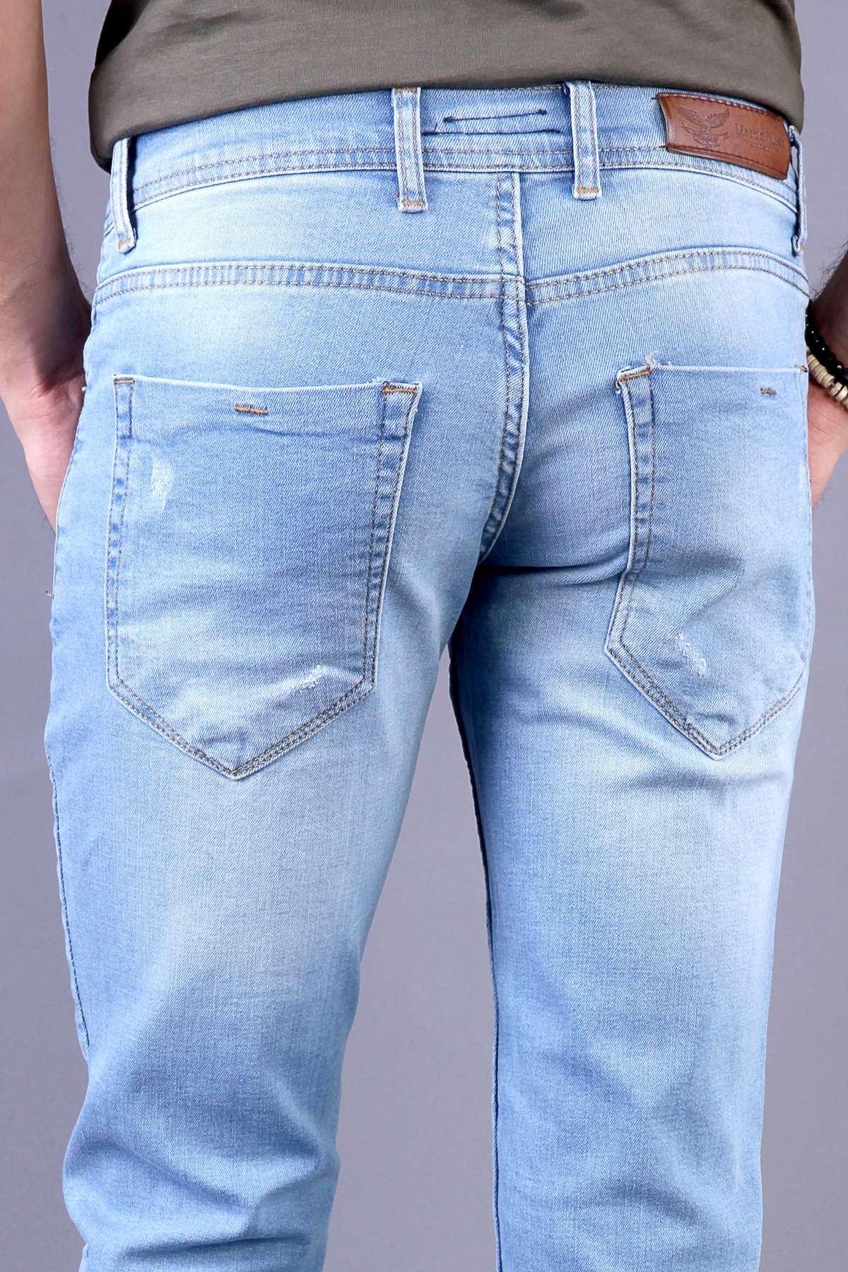 Lazer Tırtıklı Klinkırlı Diz Taşlama Slim Fit Kot Pantolon B.Mavi
