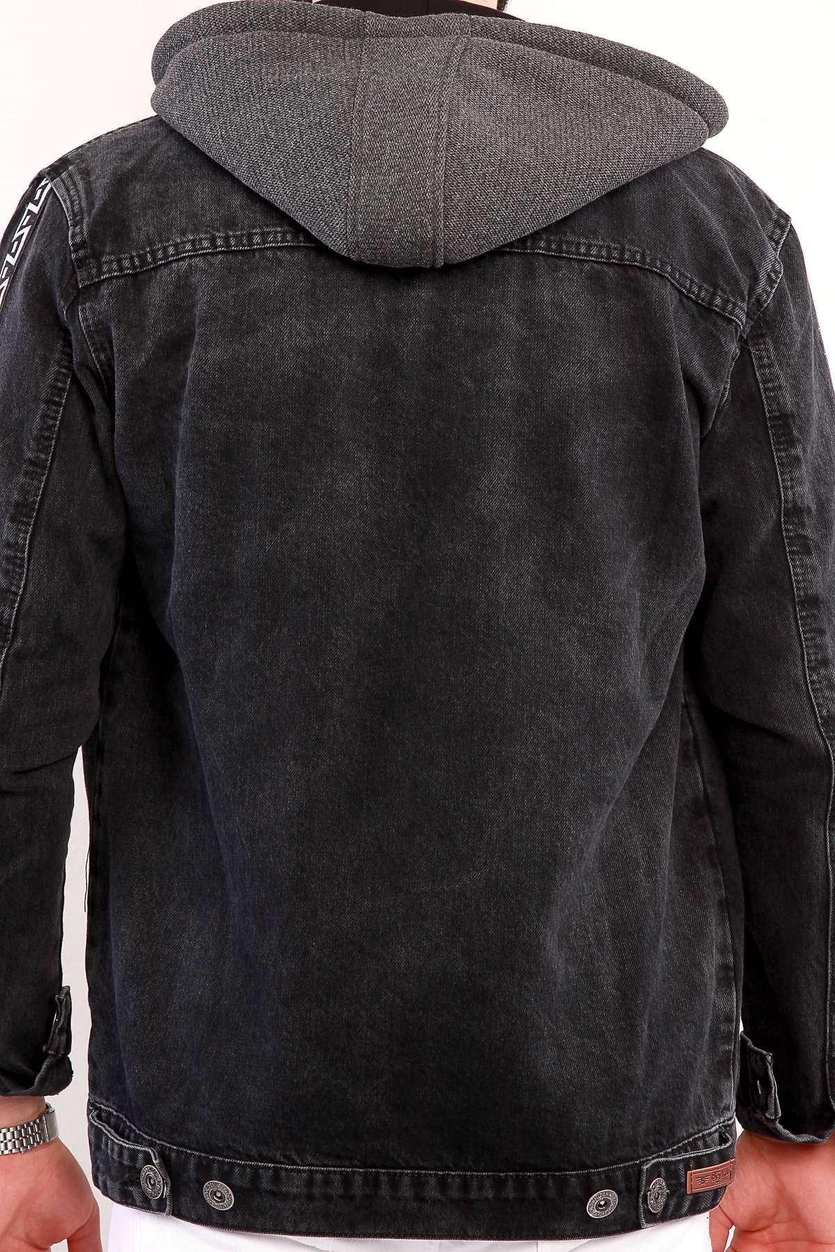 Lazer Tırtıklı Çıkarılabilir Kapşonlu Kol Şerit Detaylı  Kot Mont Siyah