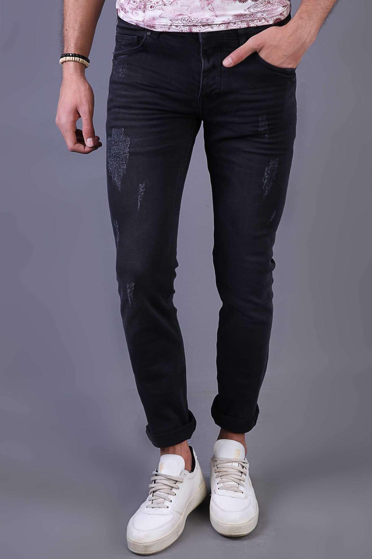 Lazer Tırtıklı Klinkırlı Slim Fit Kot Pantolon Antrasit