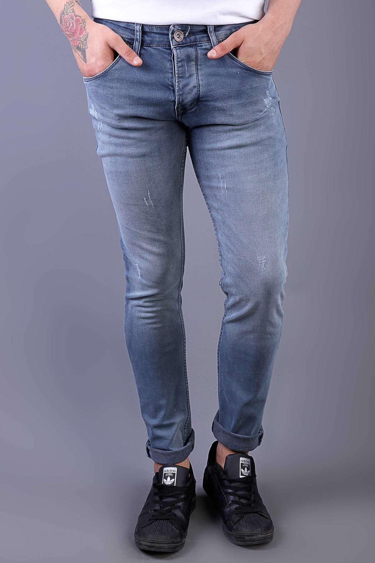 Lazer Tırtıklı Taşlamalı Dar Paça Slim Fit Kot Pantolon Açık-Lacivert