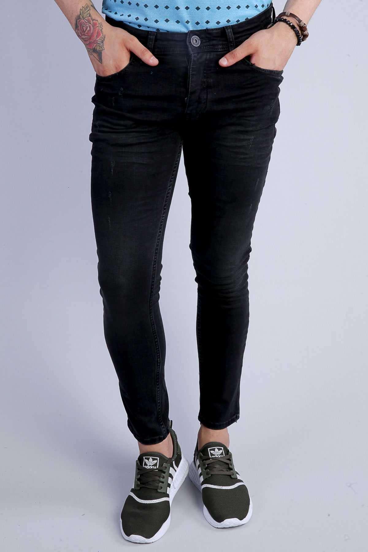 Lazer Tırtıklı Klinkırlı Slim Fit Kot Pantolon Siyah-Tint