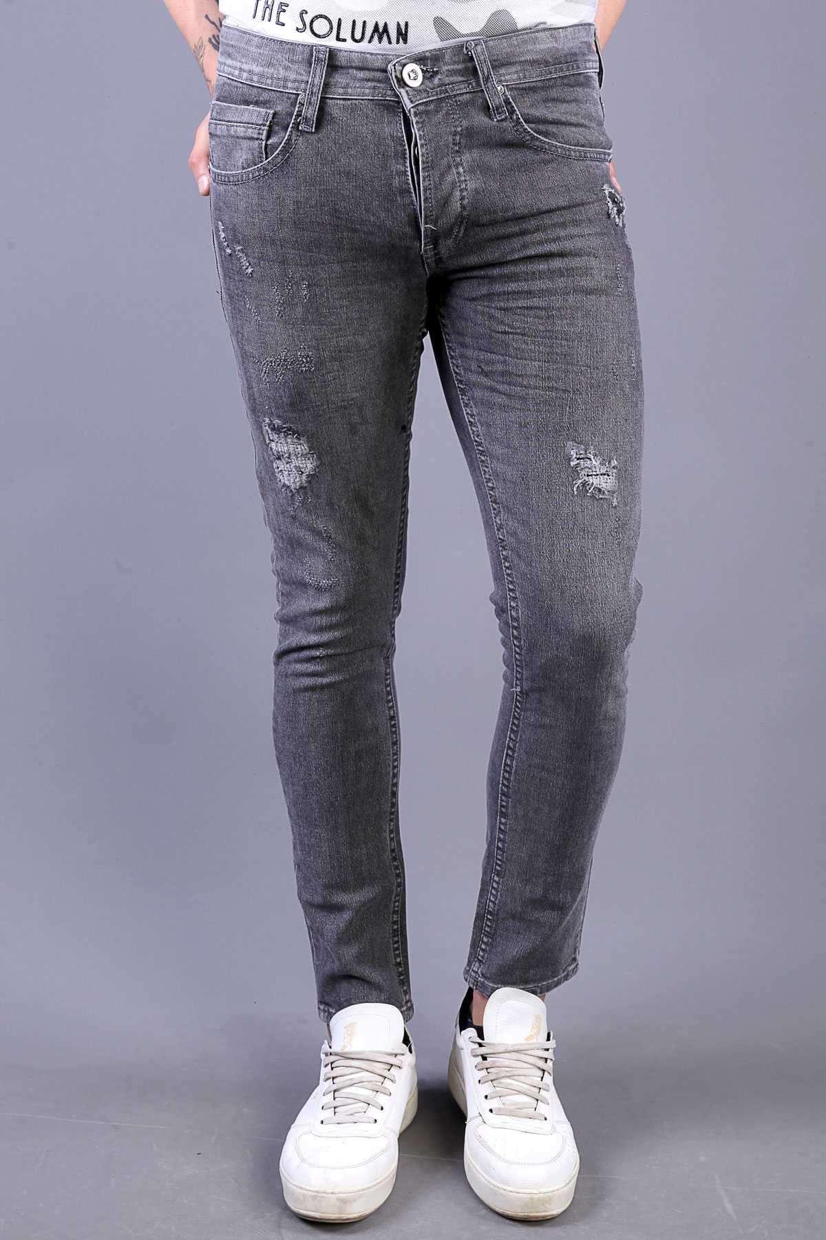 Lazer Yırtık Yamalı Slim Fit Kot Pantolon Gri