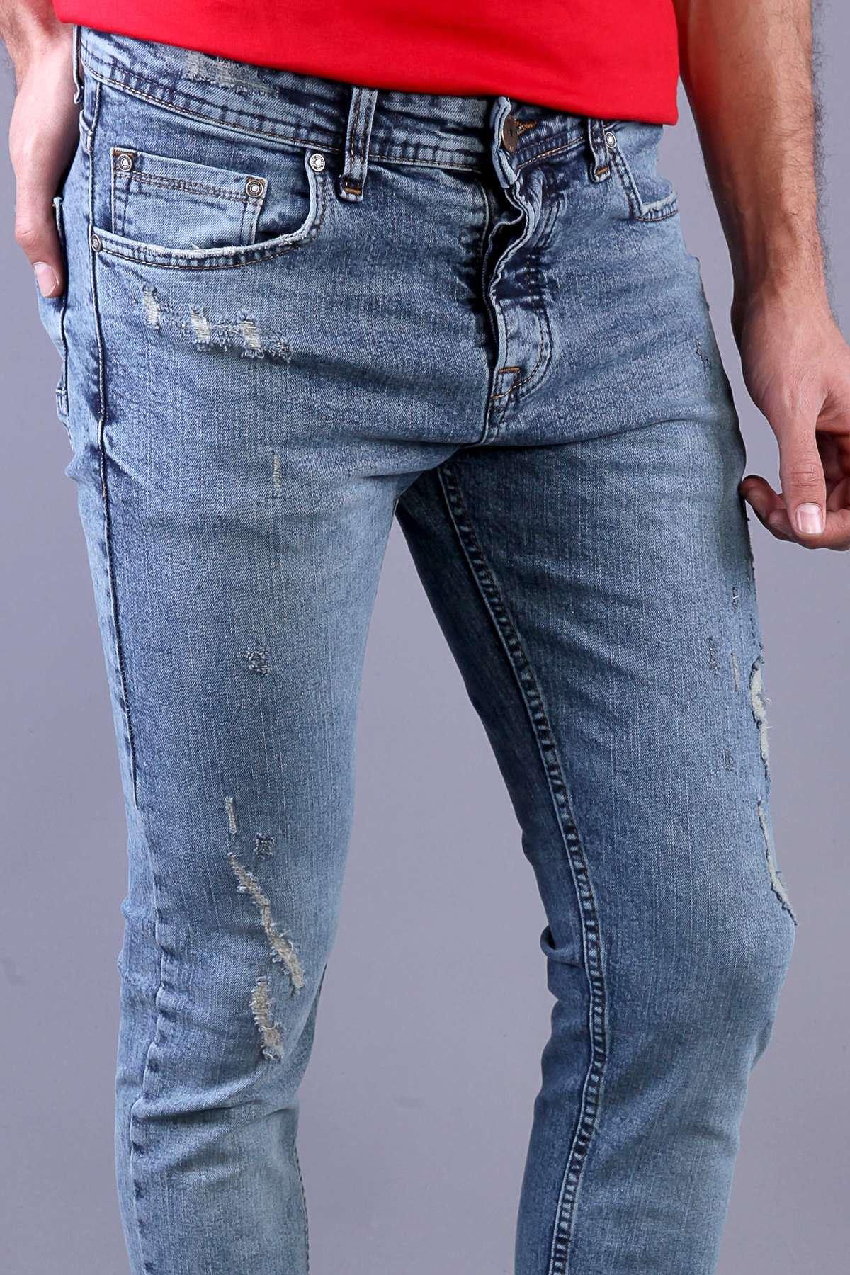 Lazer Tırtıklı Yıkamalı Slim Fit Kot Pantolon Açık-Mavi