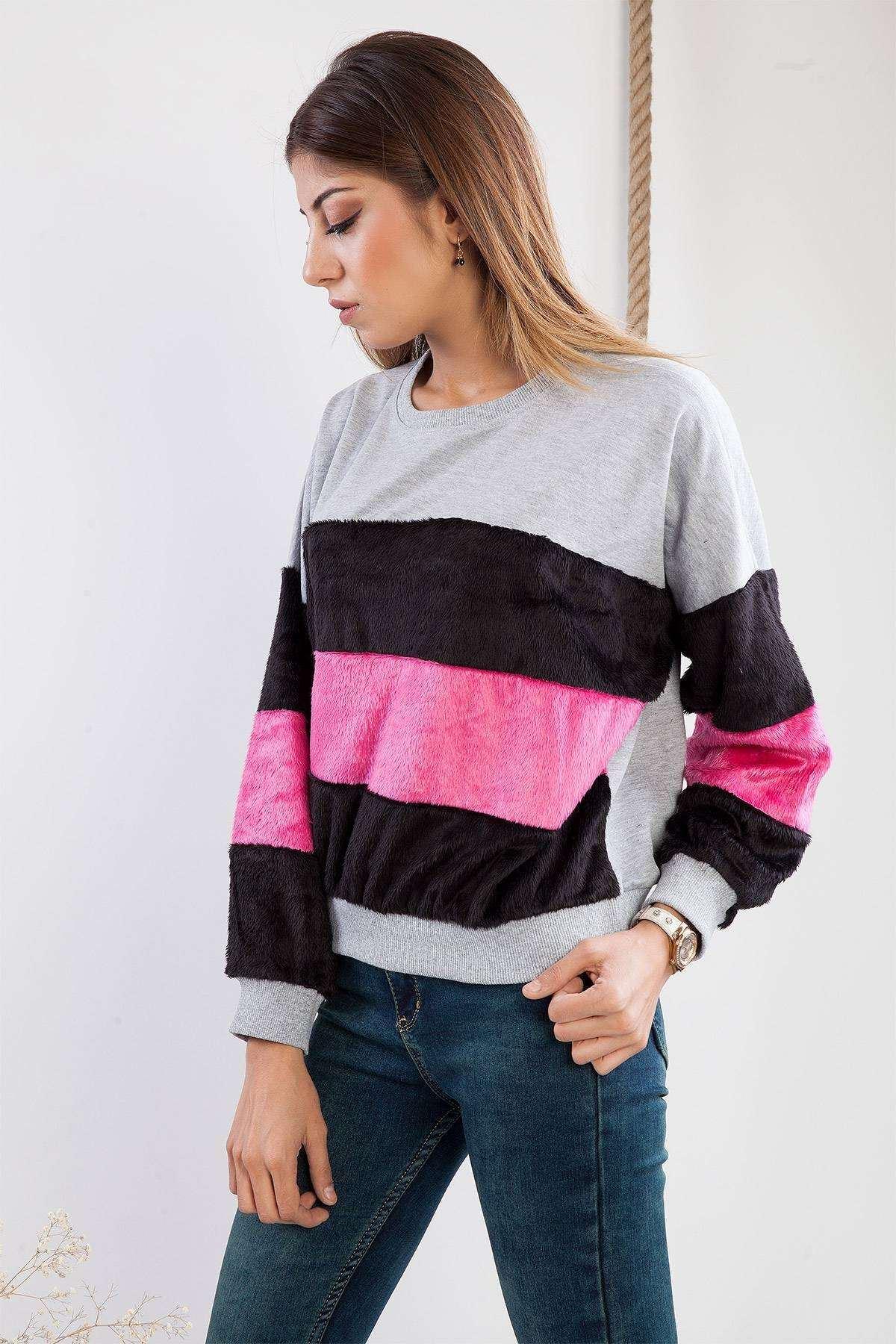Kürk Detaylı Simit Yakalı Sweatshirt Gri