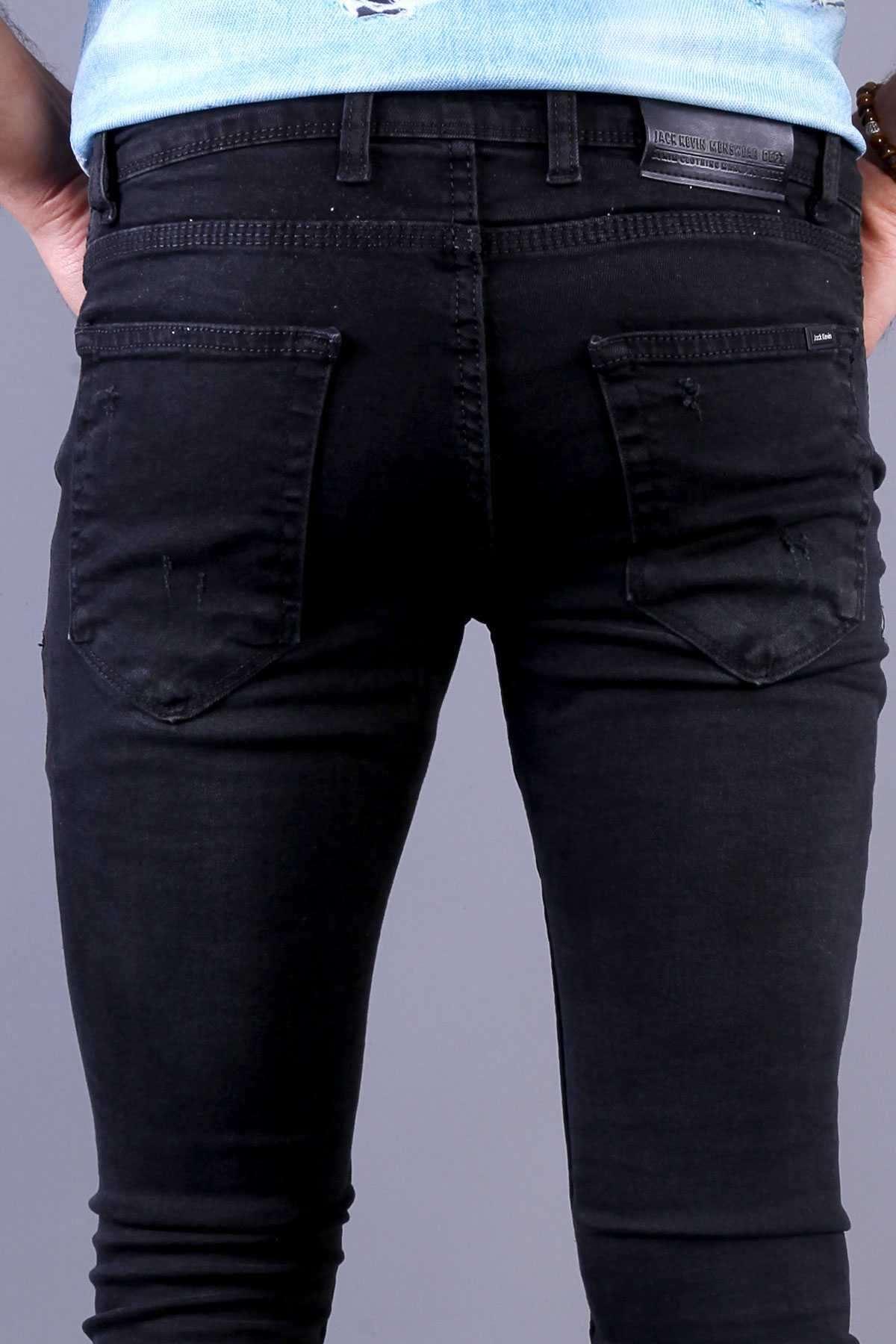 Lazer Tırtık Slim  Fit Kot Pantolon Siyah-Yeşil