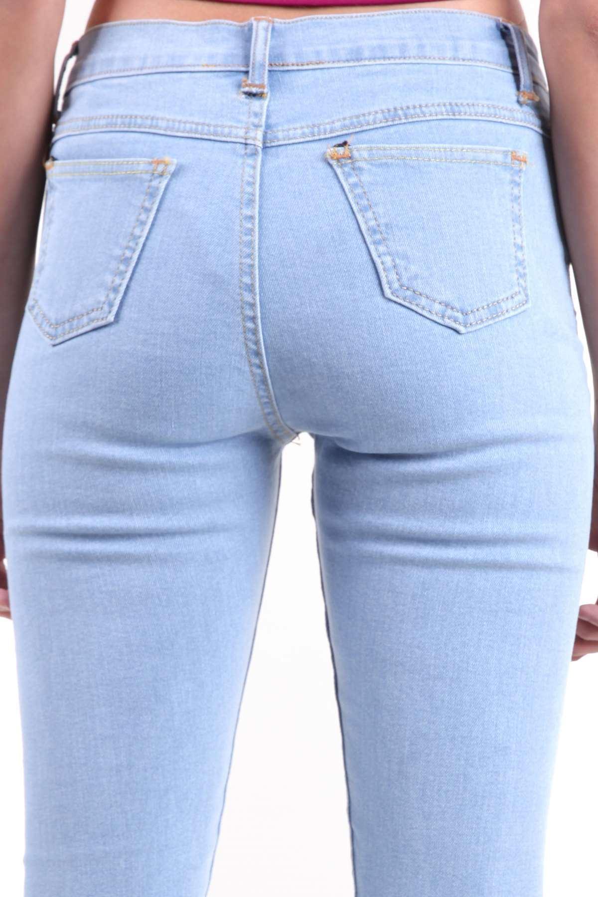 Lazer Tırtıklı Paça Püsküllü Yüksek Bel Likralı Kot Pantolon B.Mavı