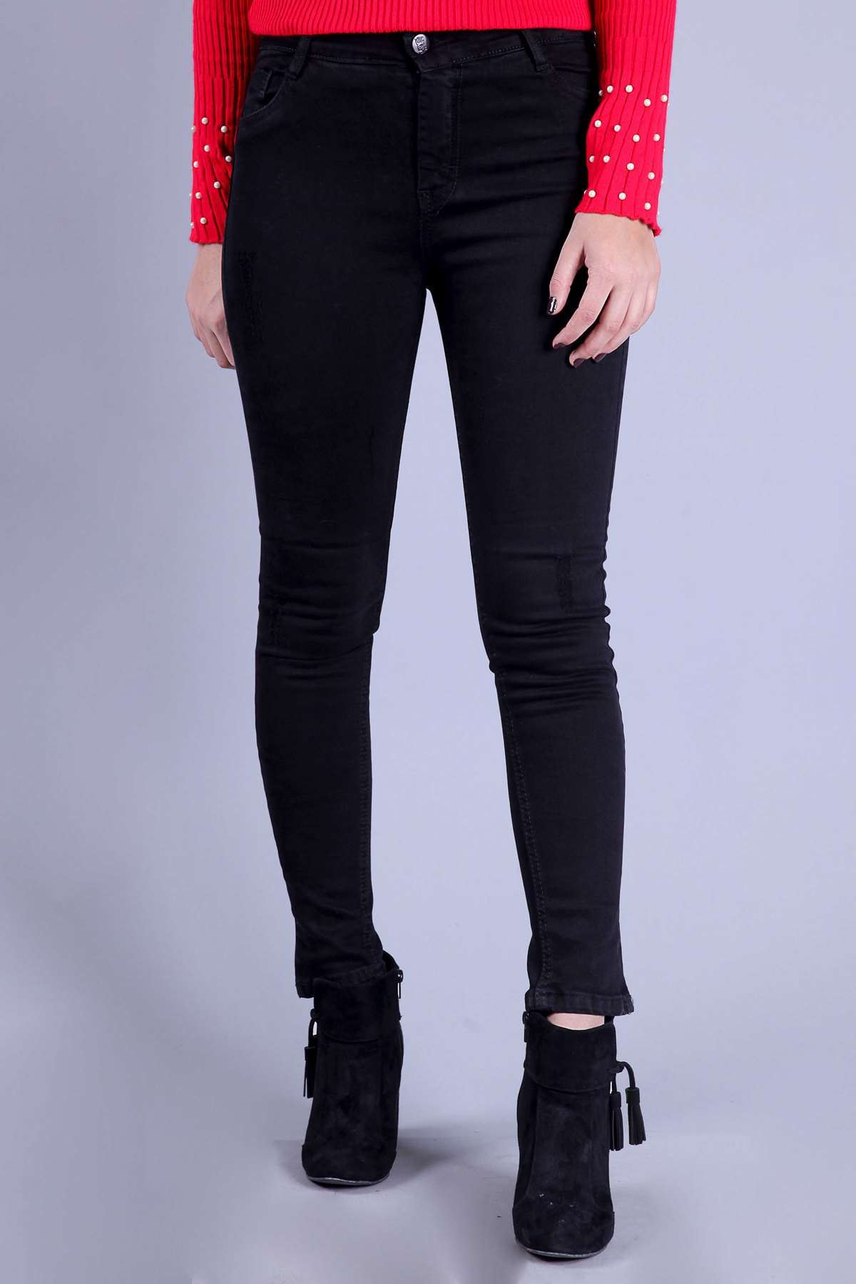 Lazer Tırtıklı Dar Paça Yüksek Bel Likralı Kot Pantolon Siyah