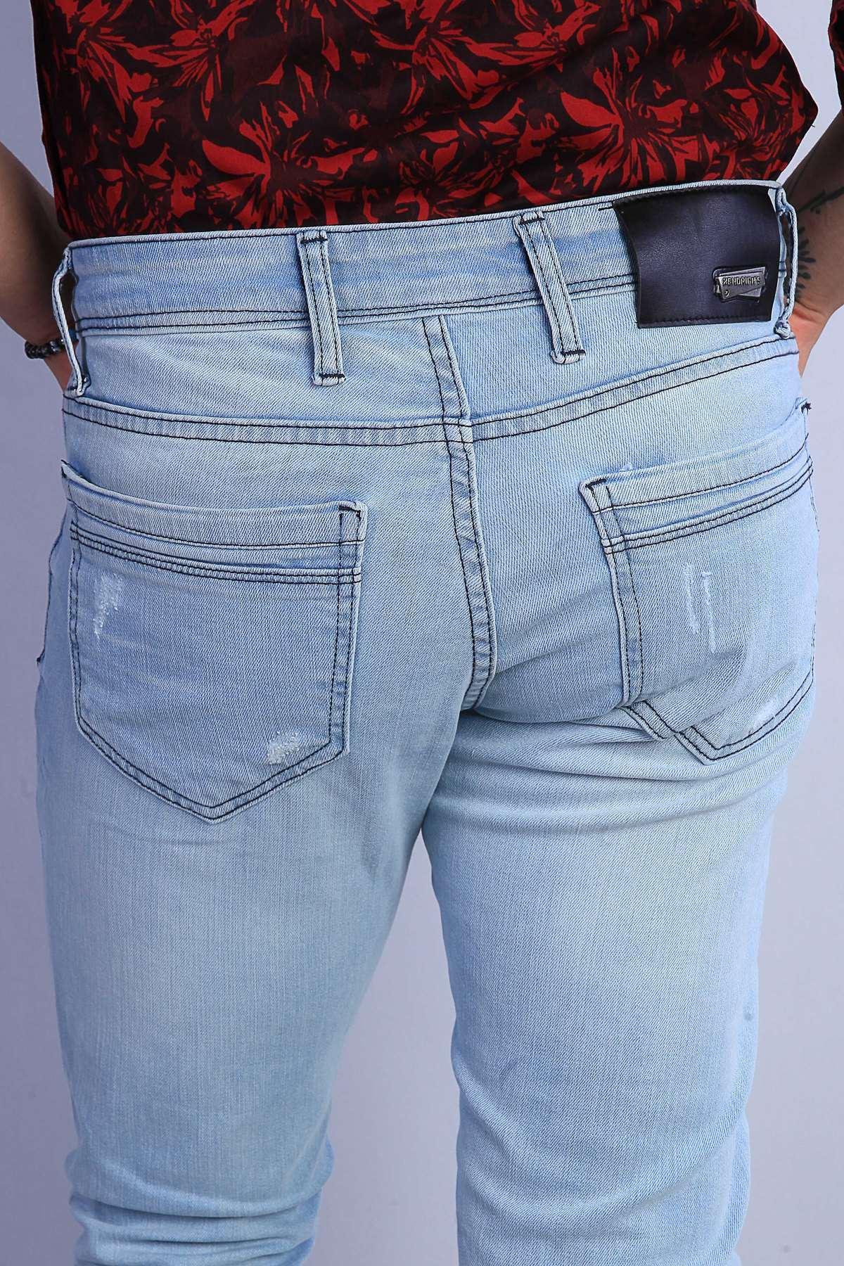 Lazer Yırtıklı İp Yamalı Slim Fit Kot Pantolon Açık-Mavi