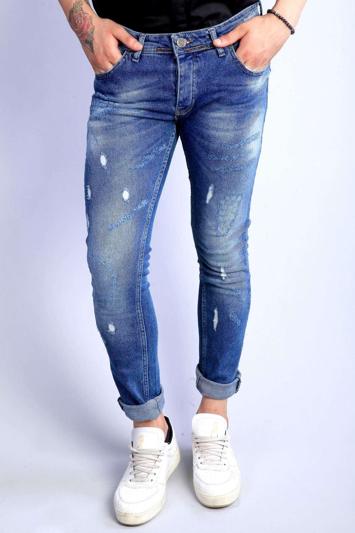 Lazer Tırtıklı Cep Altı Kare Baskılı Slim Fit Kot Pantolon Mavi