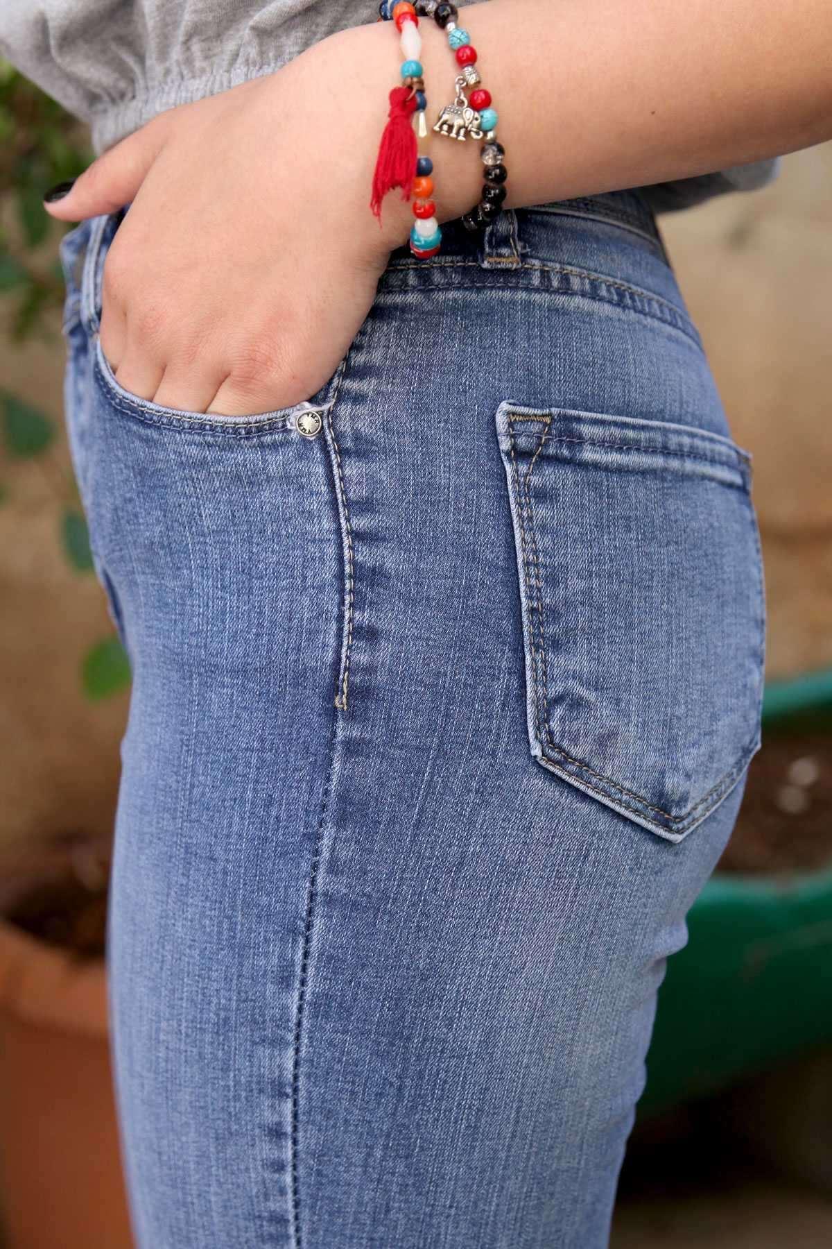 Lazer Pençeli Paçası Püsküllü Slim Fit Kot Pantolon Açık-Lacivert