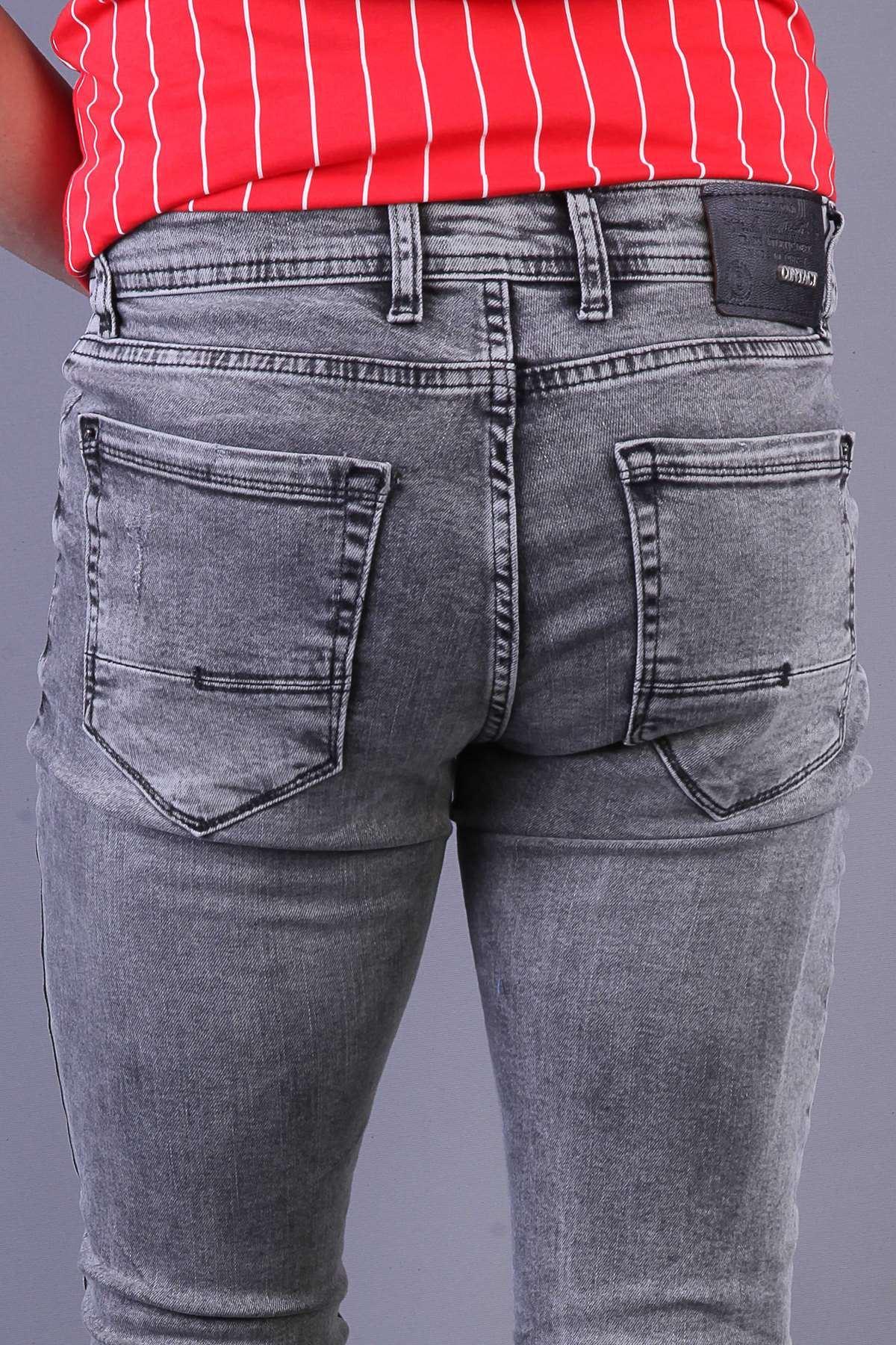 Lazer Tırtıklı Yıkamalı Slim Fit Kot Pantolon Koyu-Gri