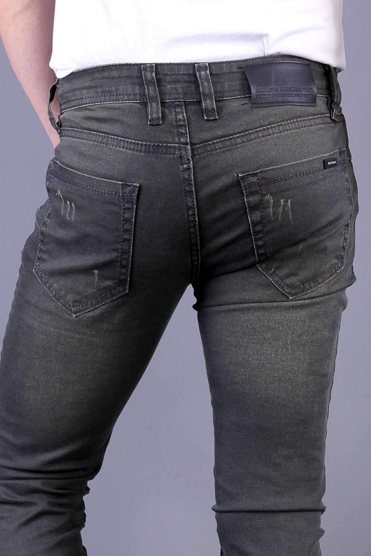 Lazer Tırtıklı Klinkırlı Slim Fit Kot Pantolon Yeşil