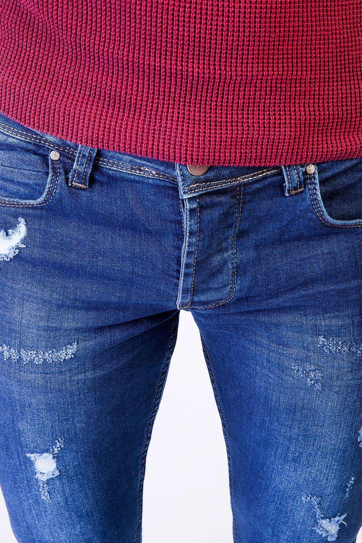 Lazer Yırtık Kot Pantolon Mavi