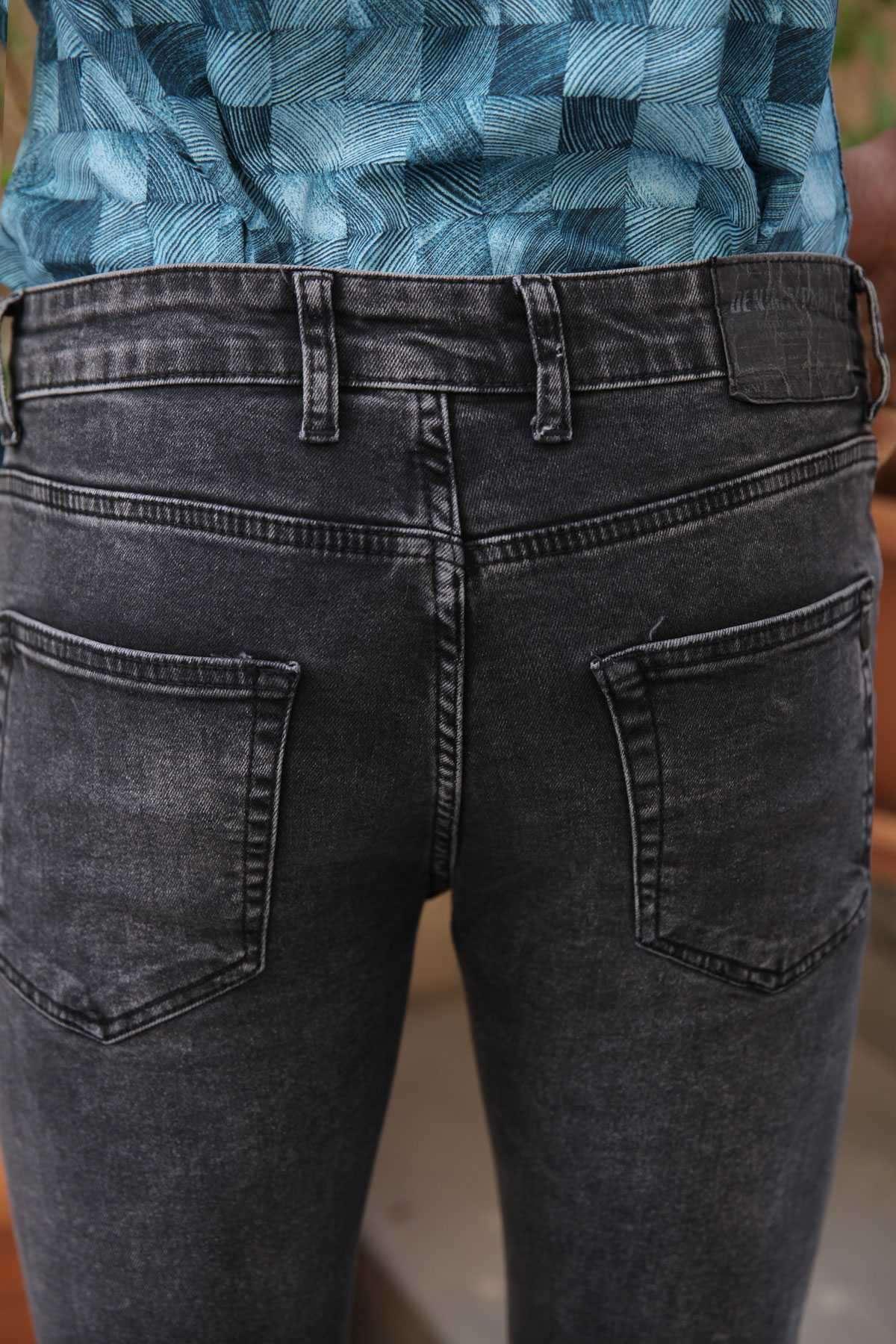 Lazer Tırtıklı İp Yamalı Bilek Boy Slim Fit Kot Pantolon Antrasit